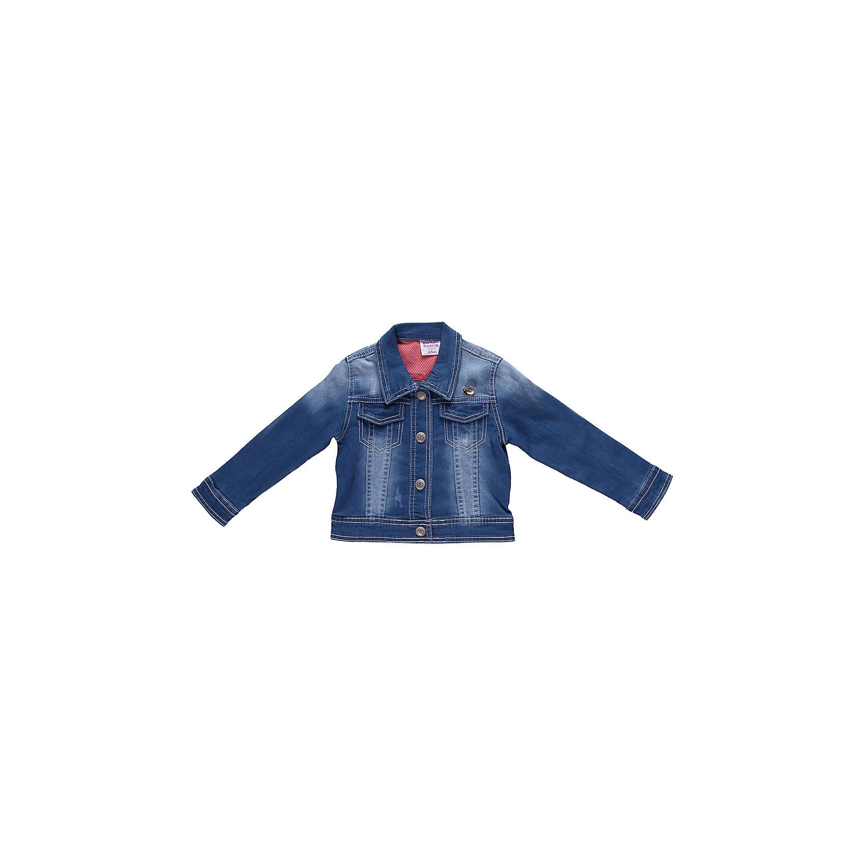 Куртка джинсовая для девочки Sweet BerryДжинсовая одежда<br>Джинсовая куртка с контрастной отделкой на кнопках.<br>Состав:<br>98% хлопок, 2% эластан<br><br>Ширина мм: 356<br>Глубина мм: 10<br>Высота мм: 245<br>Вес г: 519<br>Цвет: голубой<br>Возраст от месяцев: 9<br>Возраст до месяцев: 12<br>Пол: Женский<br>Возраст: Детский<br>Размер: 80,86,98,92<br>SKU: 4520308