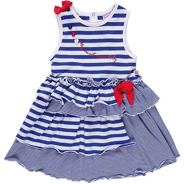 Платье для девочки Sweet BerryПлатья<br>Романтичное платье  из тонкого трикотажа. Два вида полосок. Декорировано яркими бантами.<br>Состав:<br>95% хлопок, 5% эластан<br><br>Ширина мм: 236<br>Глубина мм: 16<br>Высота мм: 184<br>Вес г: 177<br>Цвет: синий/белый<br>Возраст от месяцев: 9<br>Возраст до месяцев: 12<br>Пол: Женский<br>Возраст: Детский<br>Размер: 86,80,92,98<br>SKU: 4520368
