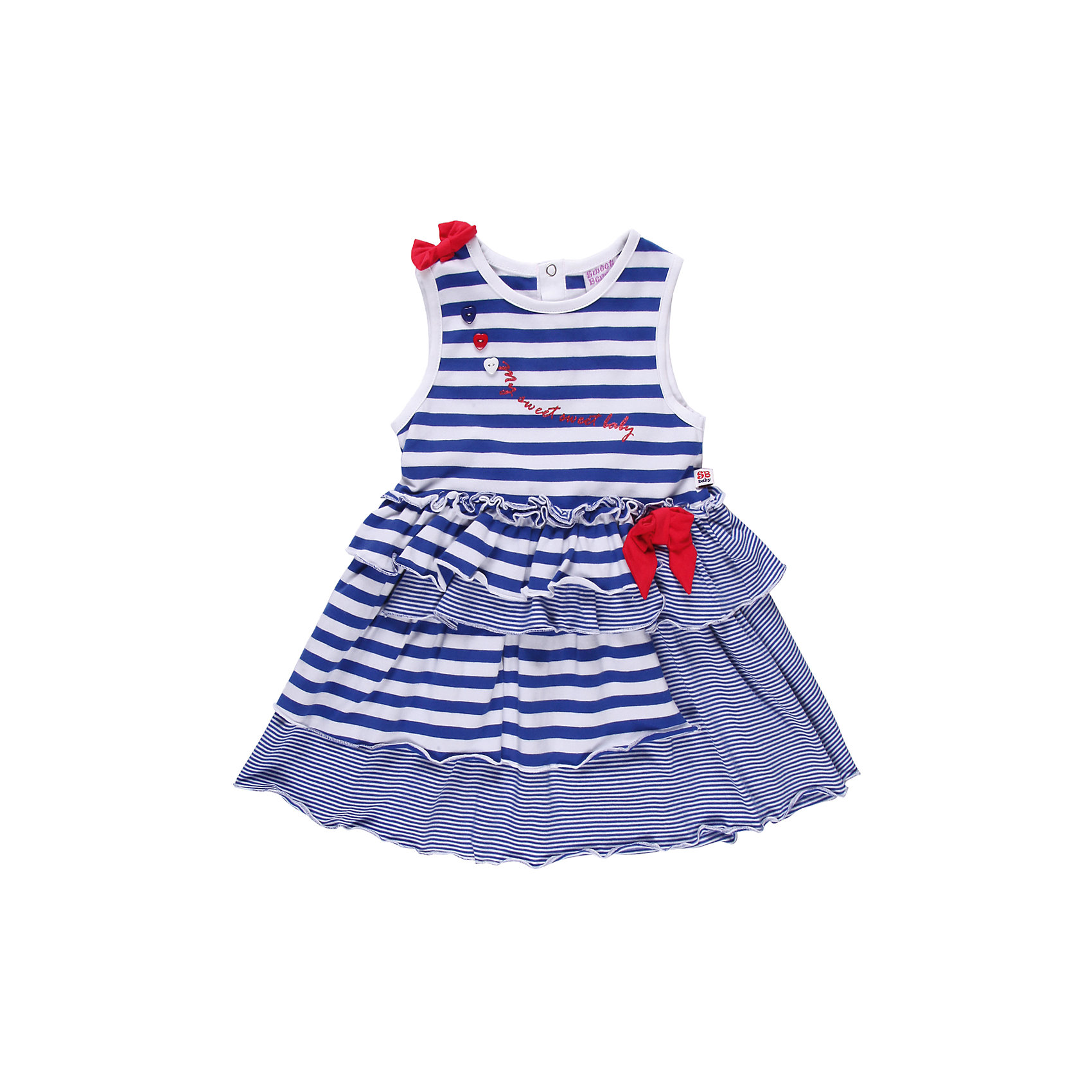 Платье для девочки Sweet BerryРомантичное платье  из тонкого трикотажа. Два вида полосок. Декорировано яркими бантами.<br>Состав:<br>95% хлопок, 5% эластан<br><br>Ширина мм: 236<br>Глубина мм: 16<br>Высота мм: 184<br>Вес г: 177<br>Цвет: белый/синий<br>Возраст от месяцев: 18<br>Возраст до месяцев: 24<br>Пол: Женский<br>Возраст: Детский<br>Размер: 92,80,98,86<br>SKU: 4520368