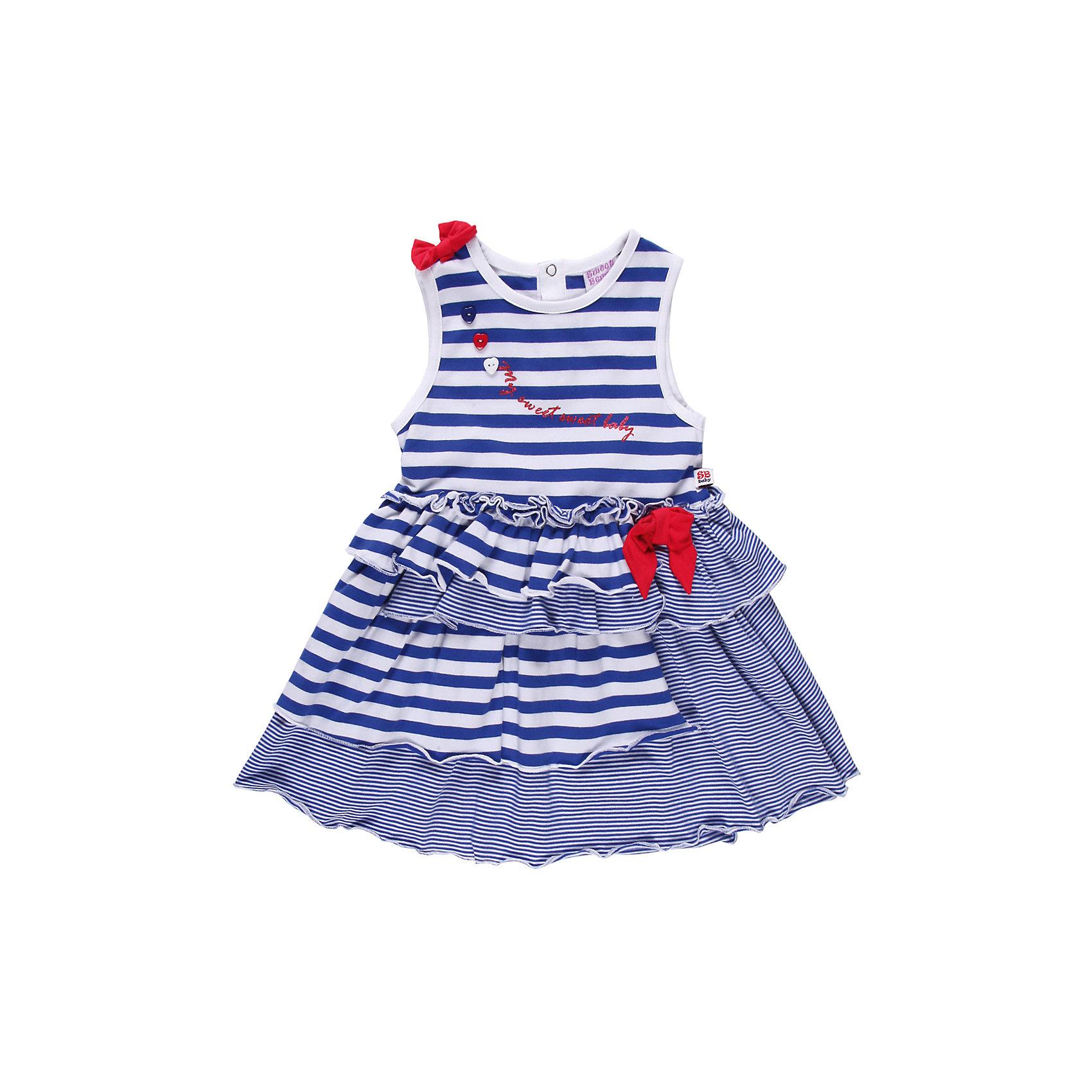 Платье для девочки Sweet BerryПлатья<br>Романтичное платье  из тонкого трикотажа. Два вида полосок. Декорировано яркими бантами.<br>Состав:<br>95% хлопок, 5% эластан<br><br>Ширина мм: 236<br>Глубина мм: 16<br>Высота мм: 184<br>Вес г: 177<br>Цвет: белый/синий<br>Возраст от месяцев: 9<br>Возраст до месяцев: 12<br>Пол: Женский<br>Возраст: Детский<br>Размер: 80,92,98,86<br>SKU: 4520368