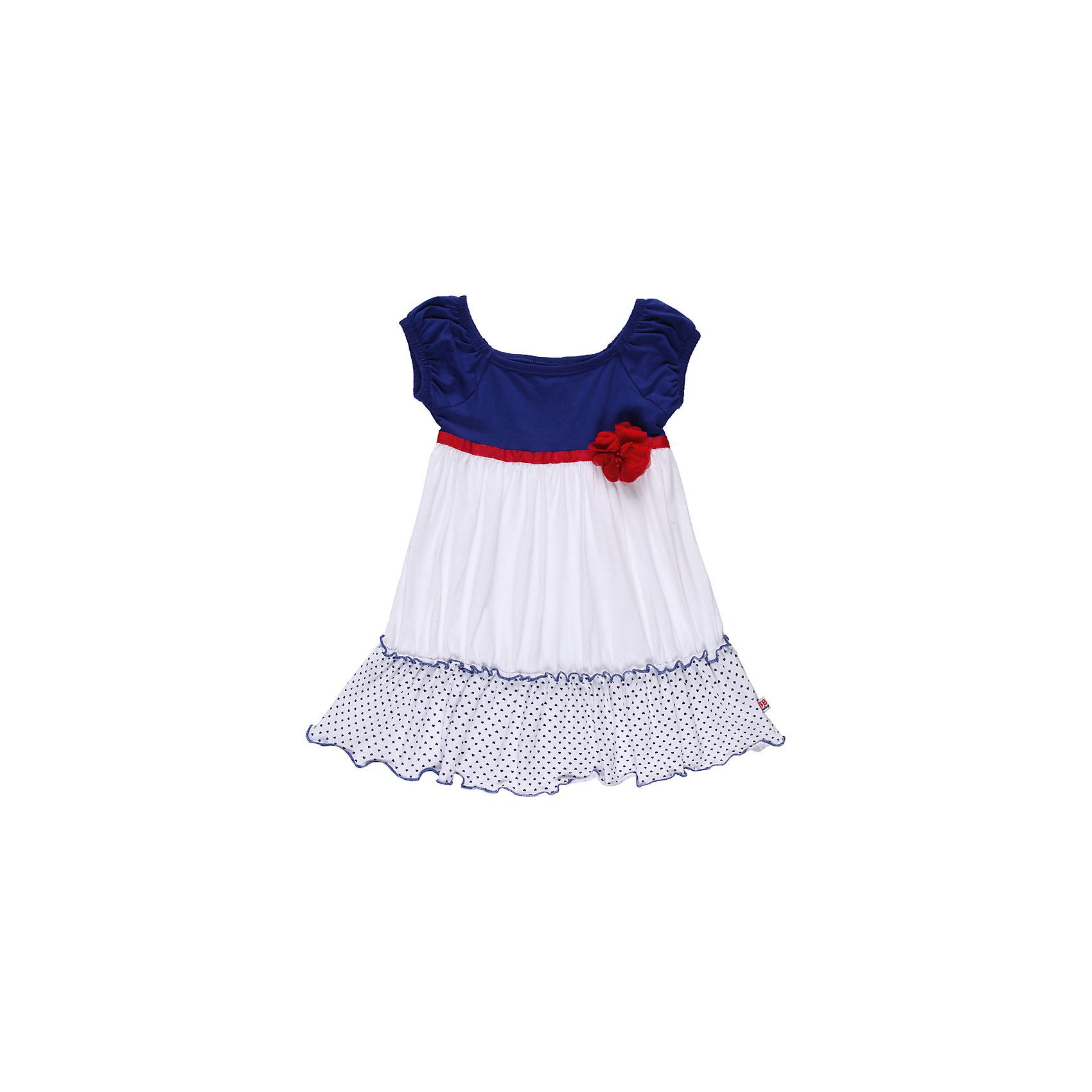 Платье для девочки Sweet BerryПлатья<br>Трикотажное платье из эластичного трикотажа. Украшено лентой и цветком.Горловина регулируется эластичной резинкой.<br>Состав:<br>95% хлопок, 5% эластан<br><br>Ширина мм: 236<br>Глубина мм: 16<br>Высота мм: 184<br>Вес г: 177<br>Цвет: синий/белый<br>Возраст от месяцев: 9<br>Возраст до месяцев: 12<br>Пол: Женский<br>Возраст: Детский<br>Размер: 80,86,92,98<br>SKU: 4520425