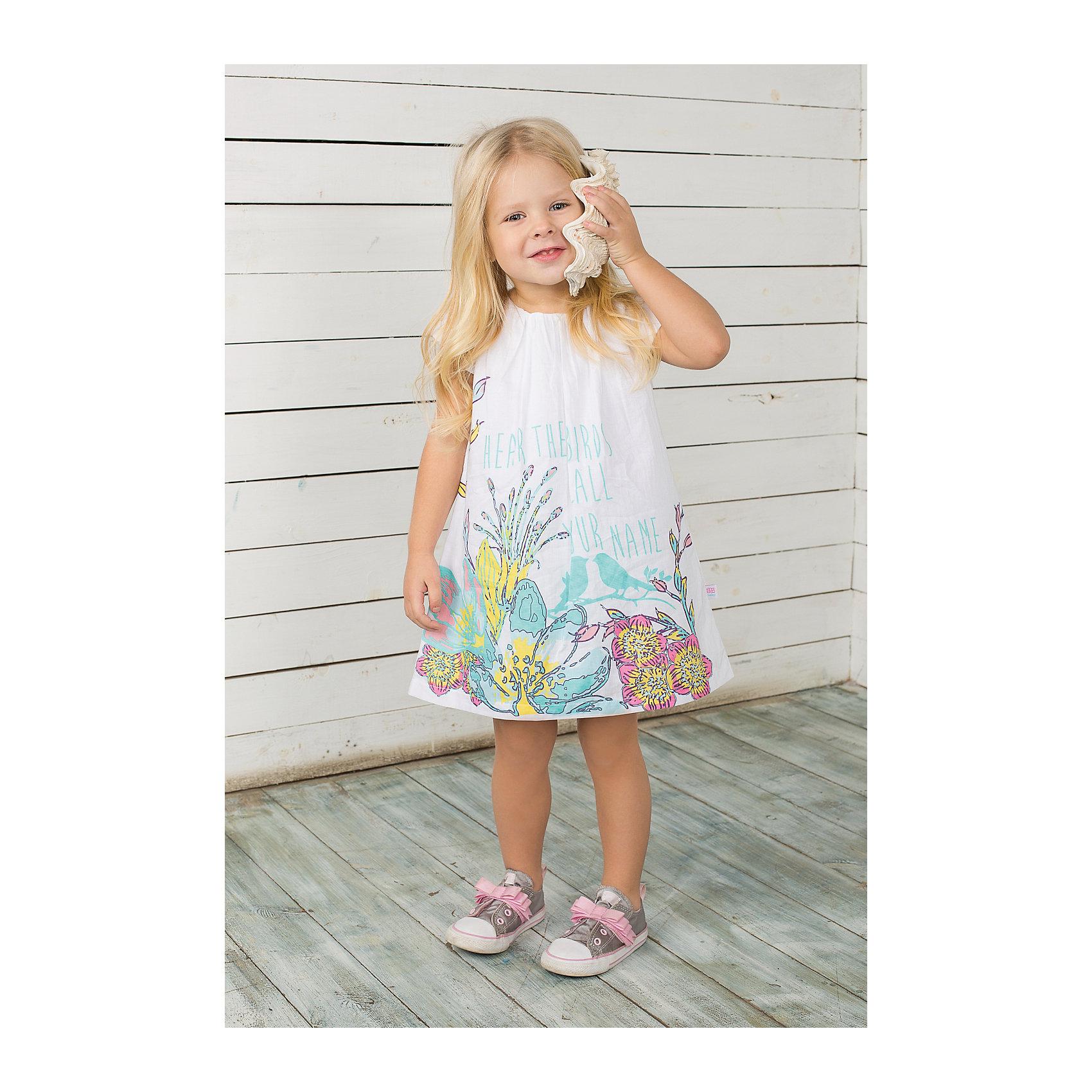 Платье для девочки Sweet BerryПлатье на девочку из тонкого поплина, декорирована складочками по горловине и цветочным принтом с глиттером.<br>Состав:<br>100% хлопок<br><br>Ширина мм: 236<br>Глубина мм: 16<br>Высота мм: 184<br>Вес г: 177<br>Цвет: белый<br>Возраст от месяцев: 9<br>Возраст до месяцев: 12<br>Пол: Женский<br>Возраст: Детский<br>Размер: 80,92,86,98<br>SKU: 4520445
