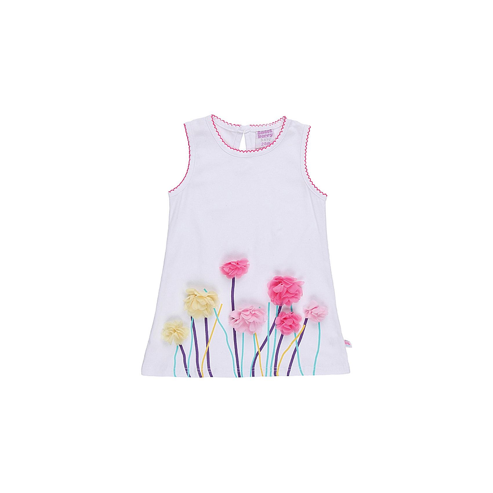 Платье для девочки Sweet BerryНежное платье из эластичного трикотажа.Декорировано цветами и принтом.Застежка-кнопки.<br>Состав:<br>95% хлопок, 5% эластан<br><br>Ширина мм: 236<br>Глубина мм: 16<br>Высота мм: 184<br>Вес г: 177<br>Цвет: белый<br>Возраст от месяцев: 18<br>Возраст до месяцев: 24<br>Пол: Женский<br>Возраст: Детский<br>Размер: 92,86,98,80<br>SKU: 4520450