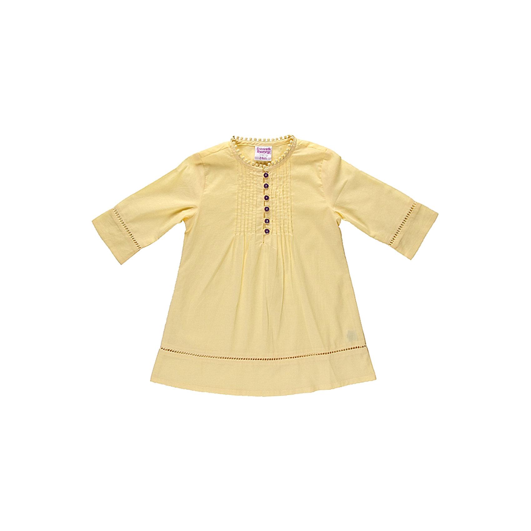 Платье для девочки Sweet BerryПляжное платье из тонкого хлопка, декорирована защипами, вставками из ажурной тесьмы, пуговками контрастного цвета.<br>Состав:<br>100% хлопок<br><br>Ширина мм: 236<br>Глубина мм: 16<br>Высота мм: 184<br>Вес г: 177<br>Цвет: желтый<br>Возраст от месяцев: 9<br>Возраст до месяцев: 12<br>Пол: Женский<br>Возраст: Детский<br>Размер: 86,80,98,92<br>SKU: 4520455