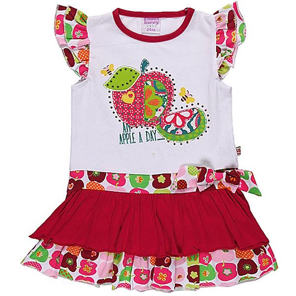 Платье для девочки Sweet BerryПлатья<br>Романтичное платье с яркими воланами. Украшено рюшами и бантом.<br>Состав:<br>95% хлопок, 5% эластан<br><br>Ширина мм: 236<br>Глубина мм: 16<br>Высота мм: 184<br>Вес г: 177<br>Цвет: розовый/белый<br>Возраст от месяцев: 9<br>Возраст до месяцев: 12<br>Пол: Женский<br>Возраст: Детский<br>Размер: 80,92,86,98<br>SKU: 4520538