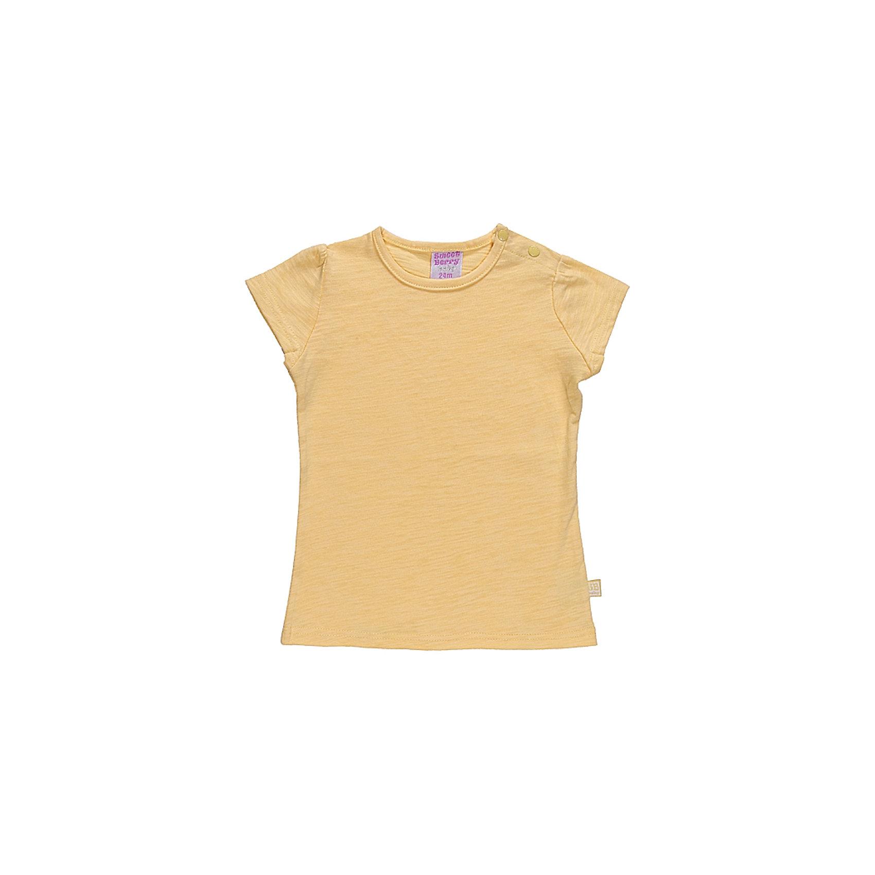 Футболка для девочки Sweet BerryБазовая футболка из эластичного трикотажа. Футболка приталенного силуэта.По рукаву сборка.<br>Состав:<br>100% хлопок<br><br>Ширина мм: 199<br>Глубина мм: 10<br>Высота мм: 161<br>Вес г: 151<br>Цвет: желтый<br>Возраст от месяцев: 9<br>Возраст до месяцев: 12<br>Пол: Женский<br>Возраст: Детский<br>Размер: 80,86,92,98<br>SKU: 4520621