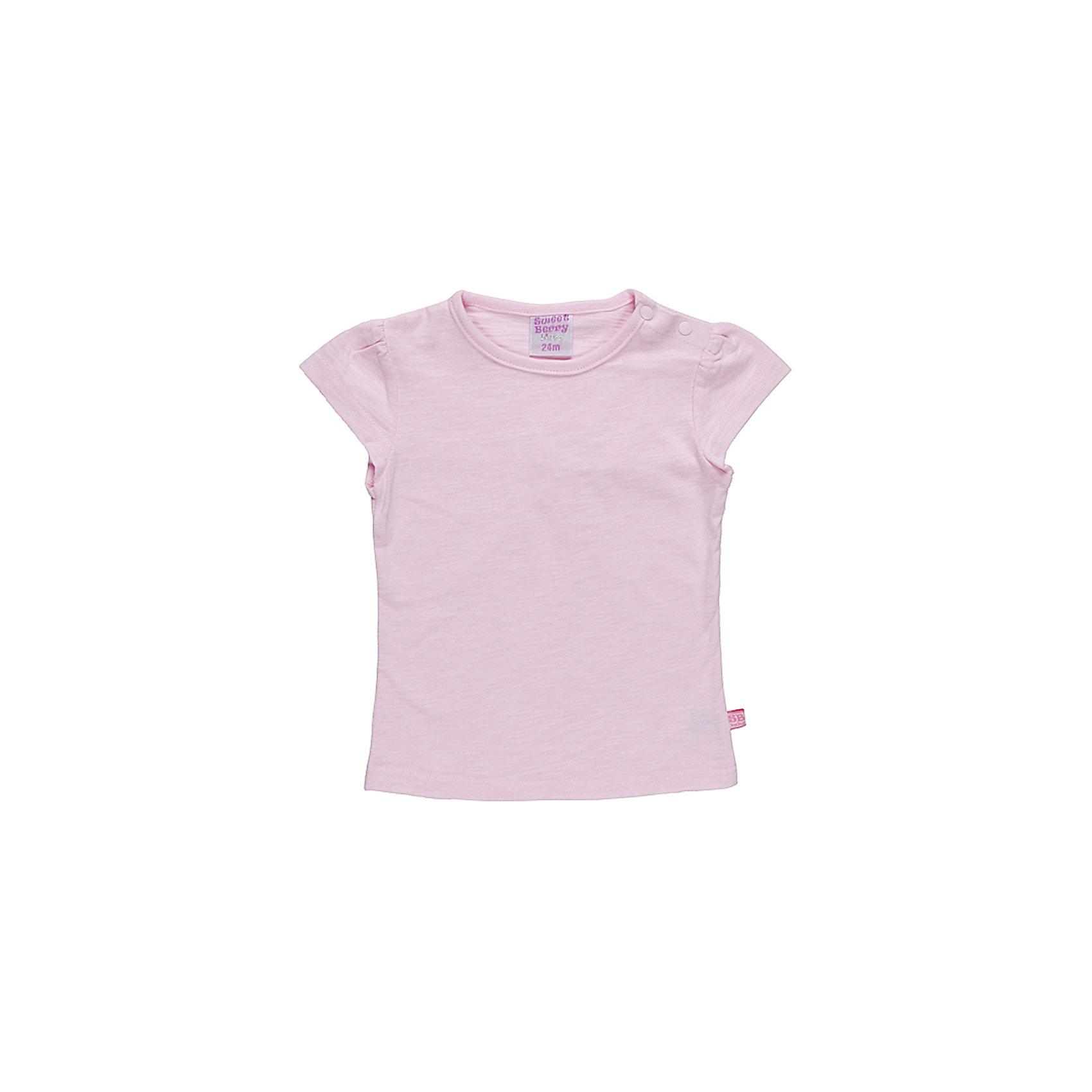Футболка для девочки Sweet BerryБазовая футболка из эластичного трикотажа. Футболка приталенного силуэта.По рукаву сборка.<br>Состав:<br>100% хлопок<br><br>Ширина мм: 199<br>Глубина мм: 10<br>Высота мм: 161<br>Вес г: 151<br>Цвет: розовый<br>Возраст от месяцев: 24<br>Возраст до месяцев: 36<br>Пол: Женский<br>Возраст: Детский<br>Размер: 92,86,98,80<br>SKU: 4520631