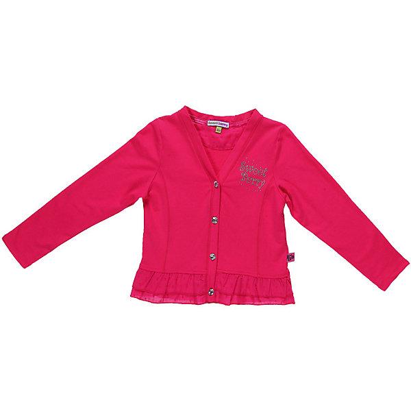 Кардиган для девочки Sweet BerryСвитера и кардиганы<br>Кардиган с баской для девочки, выполнен из двух видов ткани - футера и фактурного хлопка, декорирован  фирменным логотипом из страз.<br>Состав:<br>95% хлопок, 5% эластан<br>Ширина мм: 190; Глубина мм: 74; Высота мм: 229; Вес г: 236; Цвет: розовый; Возраст от месяцев: 48; Возраст до месяцев: 60; Пол: Женский; Возраст: Детский; Размер: 110,98,122,104,128,116; SKU: 4520704;