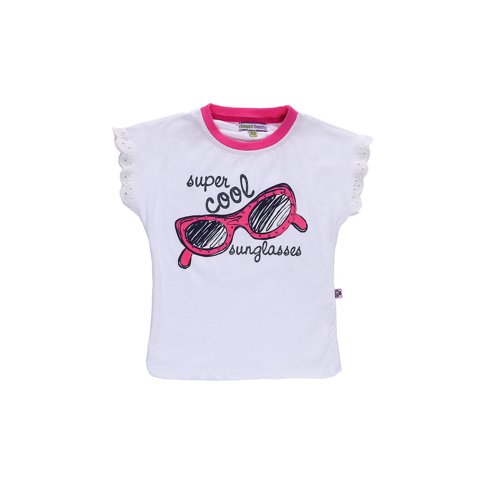 Футболка для девочки Sweet BerryФутболки, поло и топы<br>Романтичная футболка из трикотажа. Декорирована кружевом и стразами.<br>Состав:<br>95% хлопок, 5% эластан<br><br>Ширина мм: 199<br>Глубина мм: 10<br>Высота мм: 161<br>Вес г: 151<br>Цвет: белый<br>Возраст от месяцев: 24<br>Возраст до месяцев: 36<br>Пол: Женский<br>Возраст: Детский<br>Размер: 98,110,104,128,122,116<br>SKU: 4520725