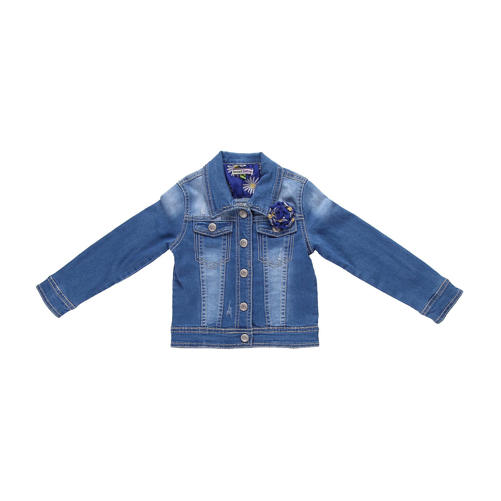 Куртка джинсовая для девочки Sweet BerryВерхняя одежда<br>Джинсовая куртка с контрастной отделкой на кнопках.<br>Состав:<br>98% хлопок, 2% эластан<br><br>Ширина мм: 356<br>Глубина мм: 10<br>Высота мм: 245<br>Вес г: 519<br>Цвет: голубой<br>Возраст от месяцев: 24<br>Возраст до месяцев: 36<br>Пол: Женский<br>Возраст: Детский<br>Размер: 98,116,104,128,122,110<br>SKU: 4520796