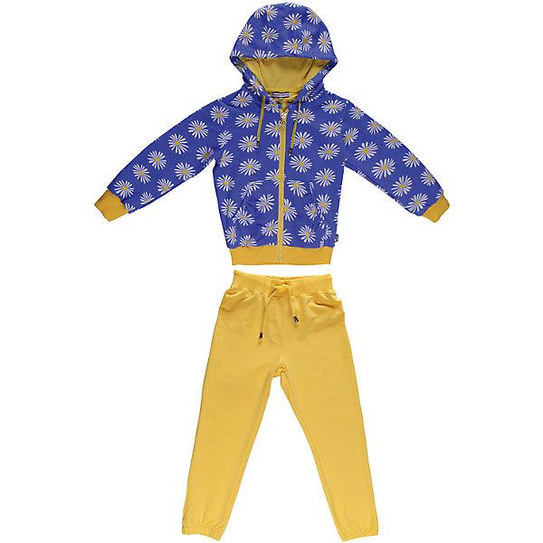Спортивный костюм для девочки Sweet BerryКомплекты<br>Яркий  комлект из плотного трикотажа.  Манжеты, низ толстовки и пояс брюк- трикотажная резинка. Пояс регулируется шнурком.<br>Состав:<br>95% хлопок, 5% эластан<br><br>Ширина мм: 247<br>Глубина мм: 16<br>Высота мм: 140<br>Вес г: 225<br>Цвет: blau/gelb<br>Возраст от месяцев: 36<br>Возраст до месяцев: 48<br>Пол: Женский<br>Возраст: Детский<br>Размер: 104,128,122,110,116,98<br>SKU: 4520838