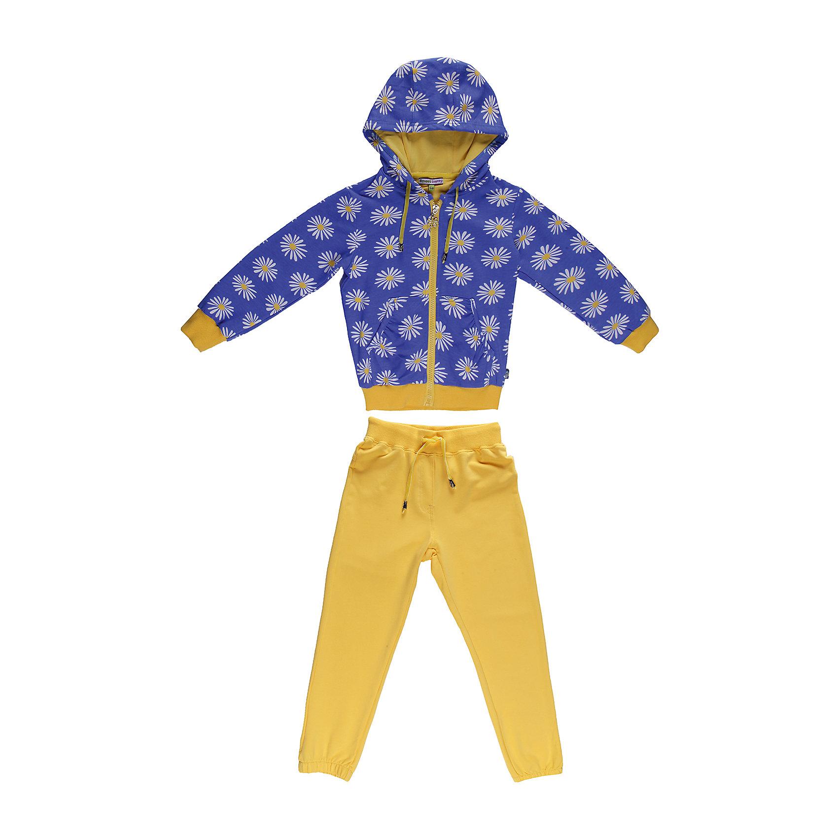 Спортивный костюм для девочки Sweet BerryКомплекты<br>Яркий  комлект из плотного трикотажа.  Манжеты, низ толстовки и пояс брюк- трикотажная резинка. Пояс регулируется шнурком.<br>Состав:<br>95% хлопок, 5% эластан<br><br>Ширина мм: 247<br>Глубина мм: 16<br>Высота мм: 140<br>Вес г: 225<br>Цвет: blau/gelb<br>Возраст от месяцев: 36<br>Возраст до месяцев: 48<br>Пол: Женский<br>Возраст: Детский<br>Размер: 104,122,128,98,116,110<br>SKU: 4520838