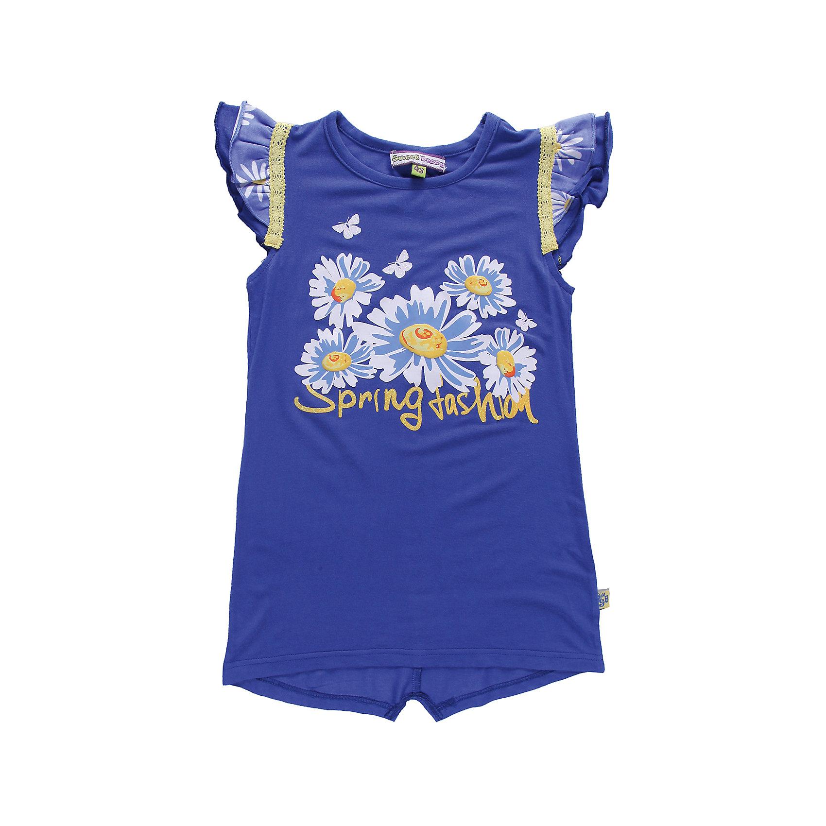 Футболка для девочки Sweet BerryФутболки, поло и топы<br>Удлиненная футболка из трикотажа. Декорирована воланами. Принт украшен глитером.<br>Состав:<br>95% хлопок, 5% эластан<br><br>Ширина мм: 199<br>Глубина мм: 10<br>Высота мм: 161<br>Вес г: 151<br>Цвет: голубой<br>Возраст от месяцев: 72<br>Возраст до месяцев: 84<br>Пол: Женский<br>Возраст: Детский<br>Размер: 122,128,104,98,116,110<br>SKU: 4520873