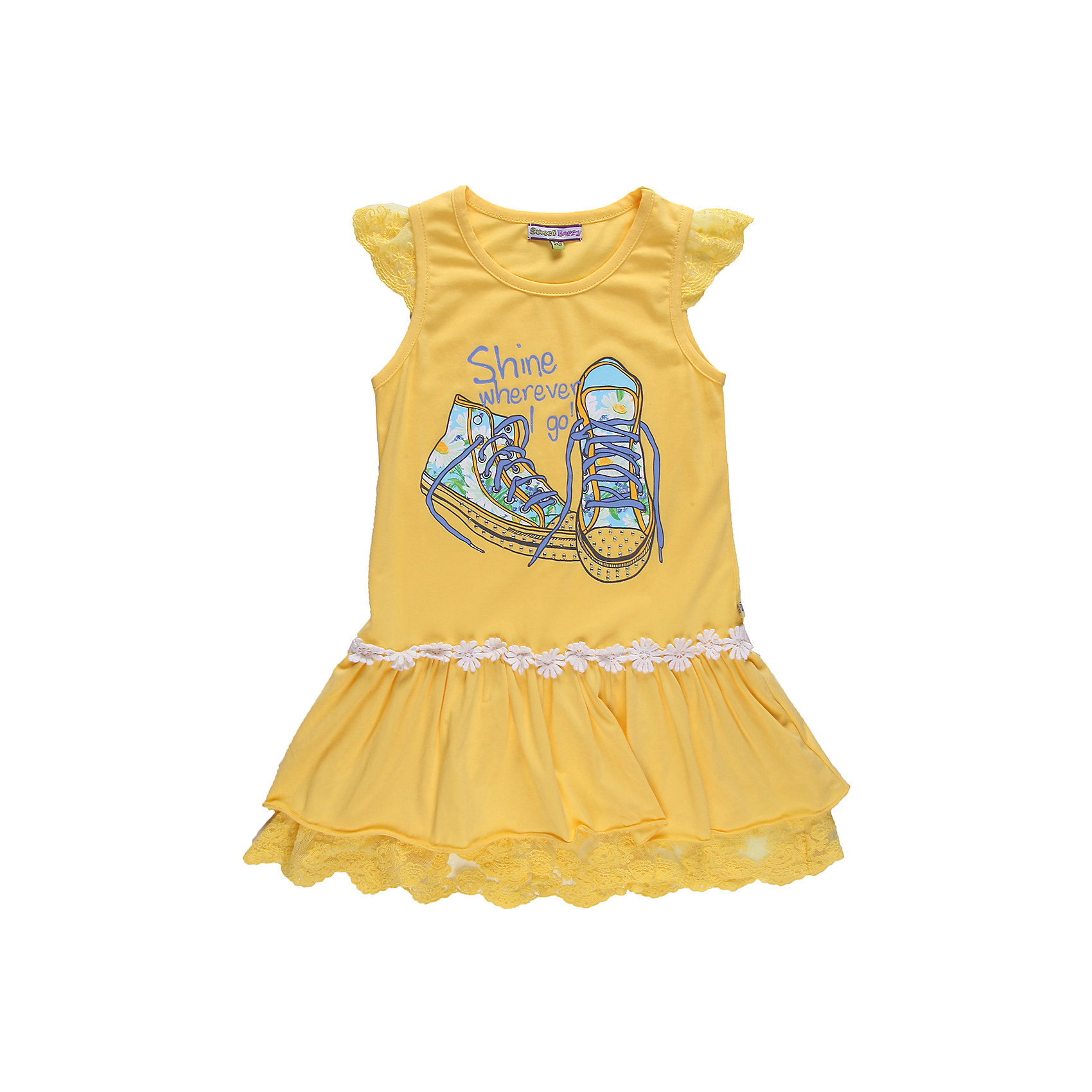 Платье для девочки Sweet BerryПлатья и сарафаны<br>Платье из эластичного трикотажа  с эластичным кружевом и кружевной отделкой. Декорировано принтом.<br>Состав:<br>95% хлопок, 5% эластан<br><br>Ширина мм: 236<br>Глубина мм: 16<br>Высота мм: 184<br>Вес г: 177<br>Цвет: желтый<br>Возраст от месяцев: 24<br>Возраст до месяцев: 36<br>Пол: Женский<br>Возраст: Детский<br>Размер: 98,128,116,110,122,104<br>SKU: 4520901