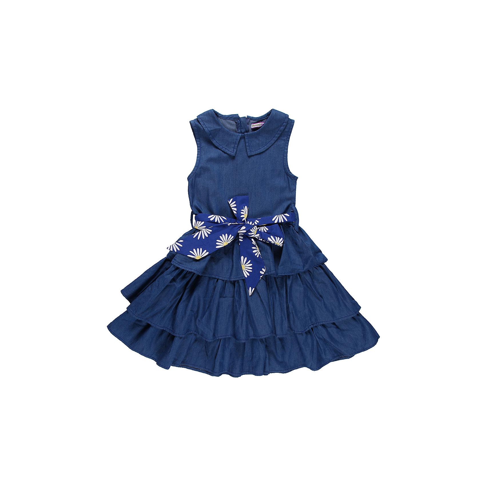 Платье для девочки Sweet BerryПлатье на девочку из тончайшей джинсы, отрезное по талии. Отложной воротничок. Пышная юбка из воланов. Принтованный пояс из хлопка.<br>Состав:<br>100% хлопок<br><br>Ширина мм: 236<br>Глубина мм: 16<br>Высота мм: 184<br>Вес г: 177<br>Цвет: голубой<br>Возраст от месяцев: 24<br>Возраст до месяцев: 36<br>Пол: Женский<br>Возраст: Детский<br>Размер: 104,116,110,128,98,122<br>SKU: 4520922