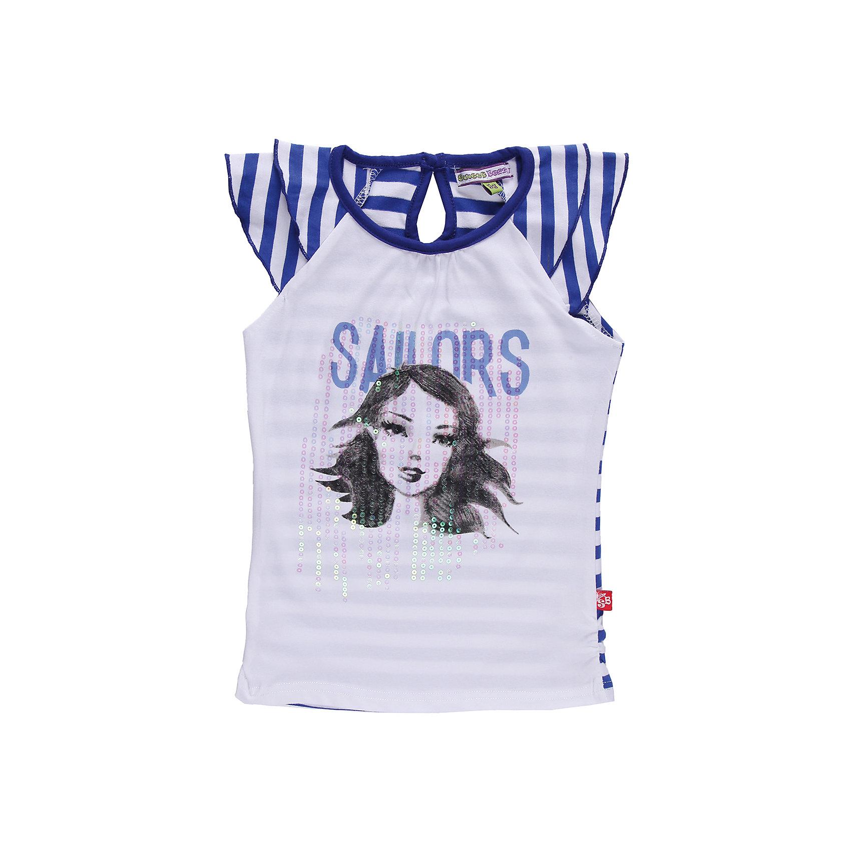 Футболка для девочки Sweet BerryФутболки, поло и топы<br>Удобная сине-белая футболка приталенного силуэта для девочки. Принт на груди изображает девочку. Рукава и вырез горловины декорированы тканью синего цвета в полоску.<br>Состав:<br>95% хлопок, 5% эластан<br><br>Ширина мм: 199<br>Глубина мм: 10<br>Высота мм: 161<br>Вес г: 151<br>Цвет: белый/синий<br>Возраст от месяцев: 24<br>Возраст до месяцев: 36<br>Пол: Женский<br>Возраст: Детский<br>Размер: 98,116,104,128,122,110<br>SKU: 4521007