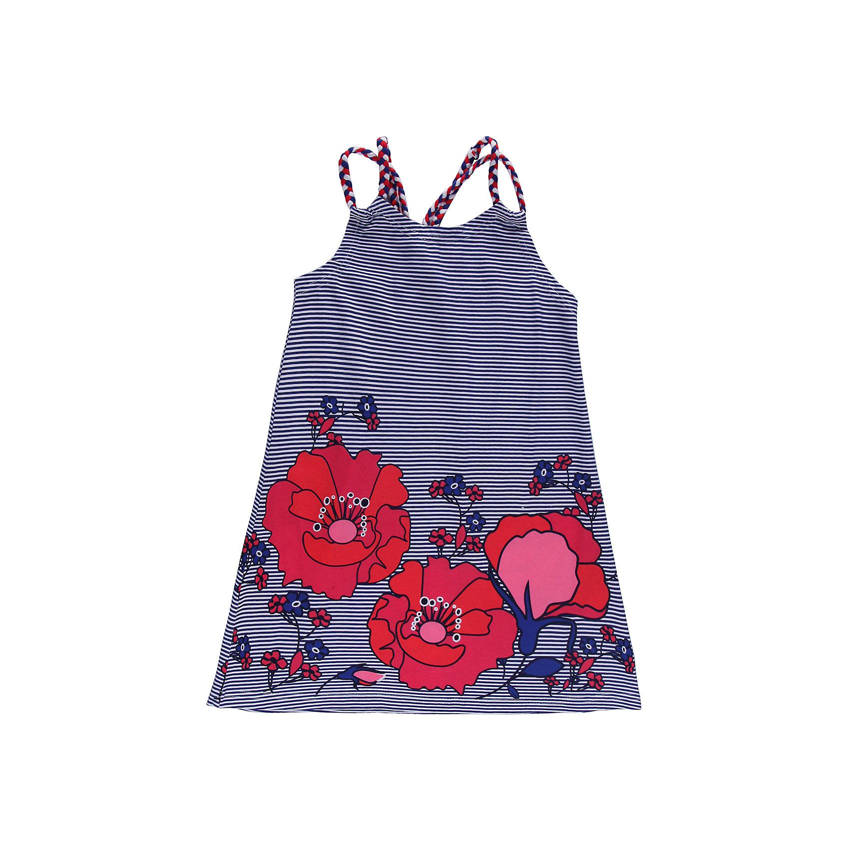 Платье для девочки Sweet BerryТрикотажное платье украшенное яркими цветами и  переплетеными бретелями.<br>Состав:<br>95% хлопок, 5% эластан<br><br>Ширина мм: 236<br>Глубина мм: 16<br>Высота мм: 184<br>Вес г: 177<br>Цвет: синий/красный<br>Возраст от месяцев: 24<br>Возраст до месяцев: 36<br>Пол: Женский<br>Возраст: Детский<br>Размер: 98,110,104,116,122,128<br>SKU: 4521042