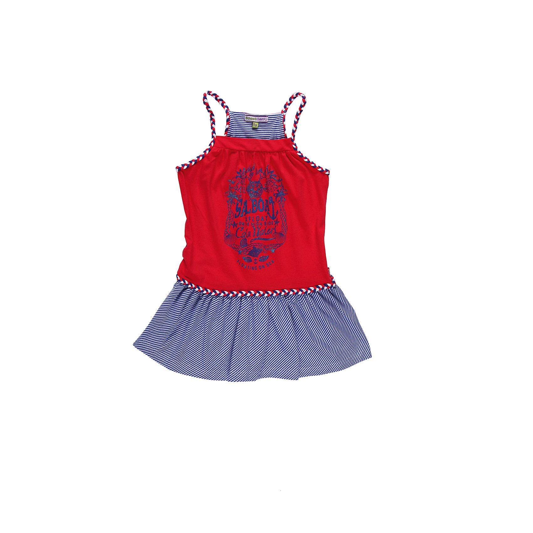 Платье для девочки Sweet BerryТрикотажное платье украшенное яркими цветами и  переплетеными бретелями.<br>Состав:<br>95% хлопок, 5% эластан<br><br>Ширина мм: 236<br>Глубина мм: 16<br>Высота мм: 184<br>Вес г: 177<br>Цвет: синий/красный<br>Возраст от месяцев: 60<br>Возраст до месяцев: 72<br>Пол: Женский<br>Возраст: Детский<br>Размер: 116,98,104,128,122,110<br>SKU: 4521070