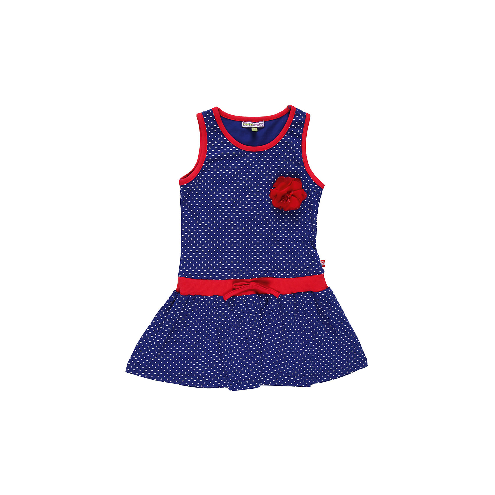 Платье для девочки Sweet BerryТрикотажное платье из принтованного трикотажа на эластичном поясе. Декорировано цветком.<br>Состав:<br>95% хлопок, 5% эластан<br><br>Ширина мм: 236<br>Глубина мм: 16<br>Высота мм: 184<br>Вес г: 177<br>Цвет: синий/красный<br>Возраст от месяцев: 24<br>Возраст до месяцев: 36<br>Пол: Женский<br>Возраст: Детский<br>Размер: 98,110,104,128,122,116<br>SKU: 4521091