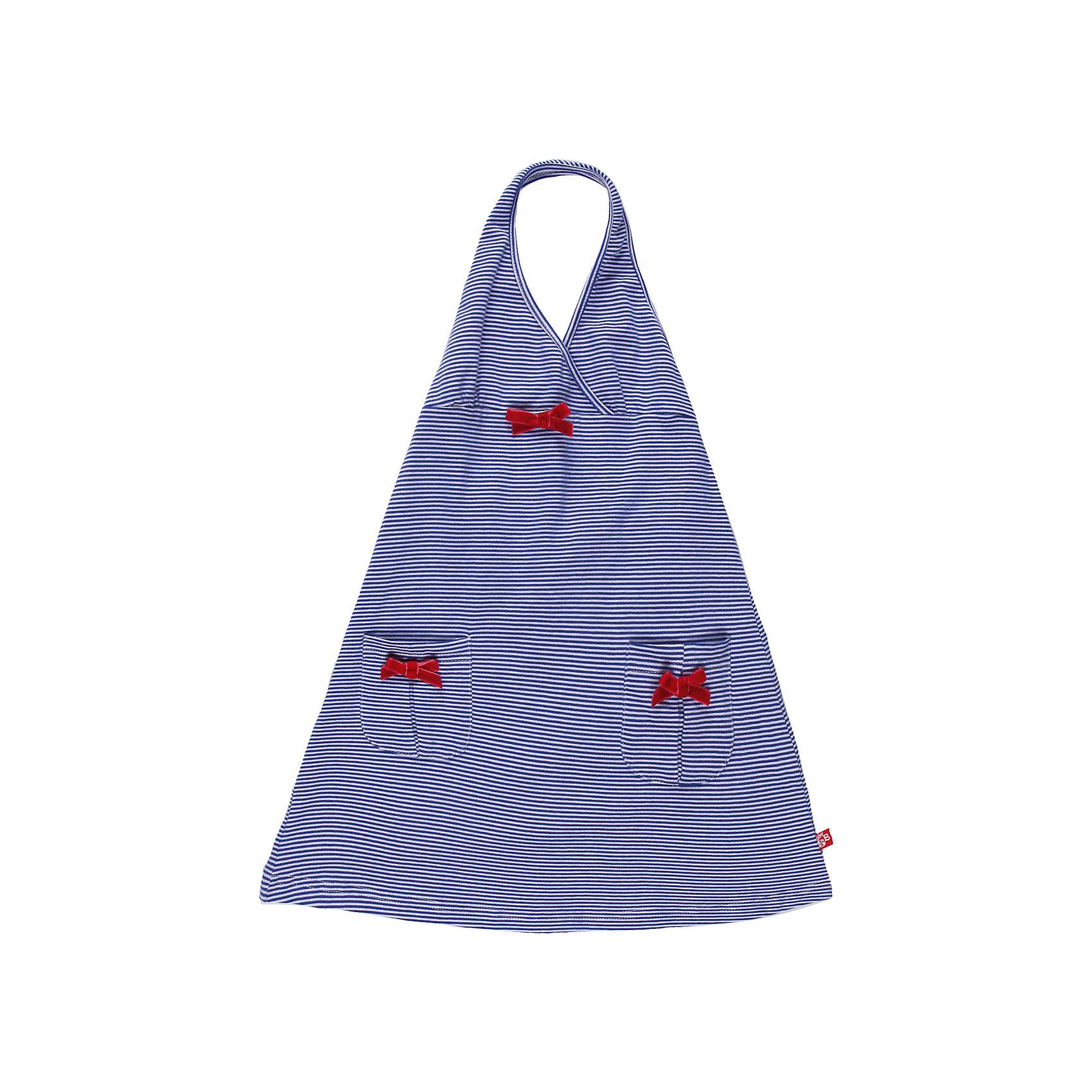 Платье для девочки Sweet BerryРомантичное платье из эластичного трикотажа  с открытой спиной. Декорировано бантиками из велюра.<br>Состав:<br>95% хлопок, 5% эластан<br><br>Ширина мм: 236<br>Глубина мм: 16<br>Высота мм: 184<br>Вес г: 177<br>Цвет: белый/синий<br>Возраст от месяцев: 24<br>Возраст до месяцев: 36<br>Пол: Женский<br>Возраст: Детский<br>Размер: 128,116,122,104,98,110<br>SKU: 4521098