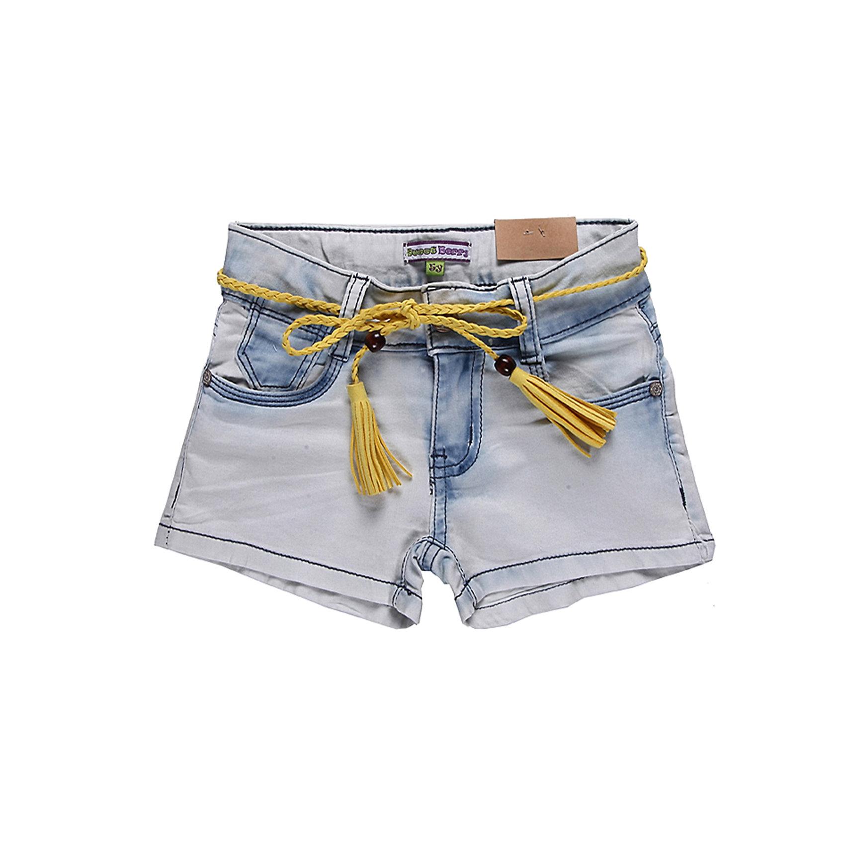 Шорты джинсовые для девочки Sweet BerryДжинсовая одежда<br>Шорты из джинсовой ткани для девочек. Небольшой процент эластана в ткани делает их более мягкими и устойчивыми к стирке. Шорты - светло-голубые, в районе швов цвет ткани становится синим. Оригинальные и модные шорты будут хорошим элементом гардероба для прогулок.<br>Состав:<br>98% хлопок, 2% эластан<br><br>Ширина мм: 191<br>Глубина мм: 10<br>Высота мм: 175<br>Вес г: 273<br>Цвет: голубой<br>Возраст от месяцев: 48<br>Возраст до месяцев: 60<br>Пол: Женский<br>Возраст: Детский<br>Размер: 110,98,104,128,122,116<br>SKU: 4521208