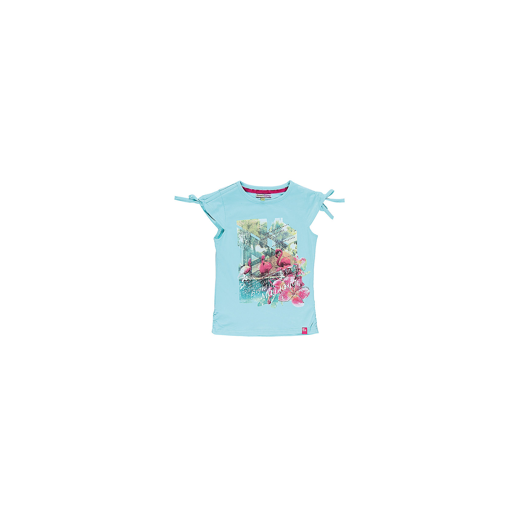 Футболка для девочки Sweet BerryТрикотажная футболка. Кулиска по плечам. Длина плеча, регулируется шнурками. Декорирована принтом со стразами.<br>Состав:<br>95% хлопок, 5% эластан<br><br>Ширина мм: 199<br>Глубина мм: 10<br>Высота мм: 161<br>Вес г: 151<br>Цвет: голубой<br>Возраст от месяцев: 36<br>Возраст до месяцев: 48<br>Пол: Женский<br>Возраст: Детский<br>Размер: 104,116,128,110,122,98<br>SKU: 4521222