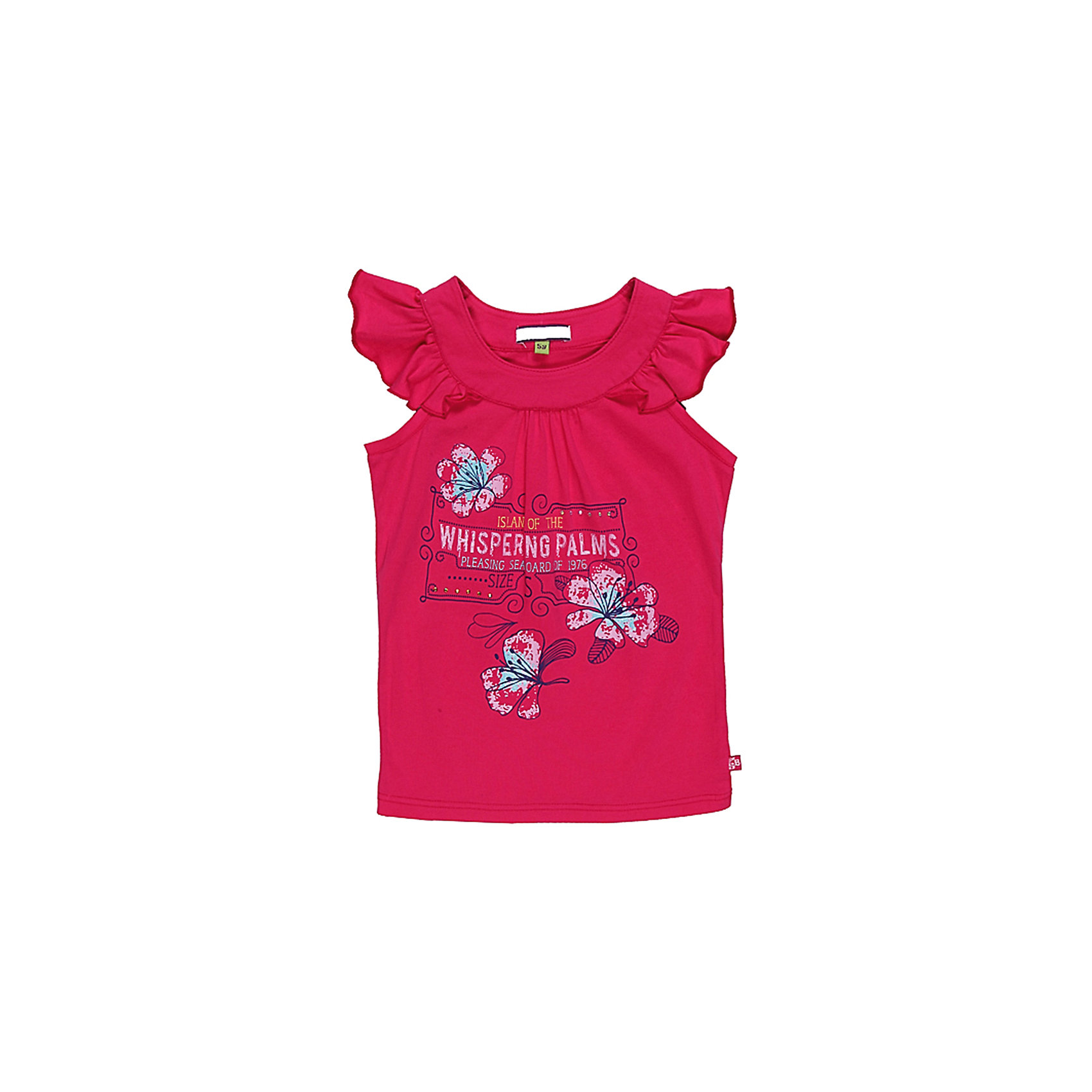 Футболка для девочки Sweet BerryФутболки, поло и топы<br>Яркая футболка из трикотажа.Приталенный силуэт. Принт со стразами и глитером.<br>Состав:<br>95% хлопок, 5% эластан<br><br>Ширина мм: 199<br>Глубина мм: 10<br>Высота мм: 161<br>Вес г: 151<br>Цвет: розовый<br>Возраст от месяцев: 48<br>Возраст до месяцев: 60<br>Пол: Женский<br>Возраст: Детский<br>Размер: 128,122,116,110,104,98<br>SKU: 4521243