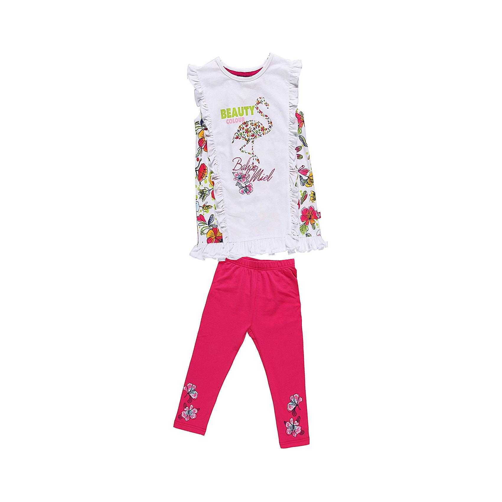 Комплект для девочки: футболка и леггинсы Sweet BerryЯркий комплект из эластичного трикотажа. Украшен принтами и рюшами<br>Состав:<br>95% хлопок, 5% эластан<br><br>Ширина мм: 199<br>Глубина мм: 10<br>Высота мм: 161<br>Вес г: 151<br>Цвет: разноцветный<br>Возраст от месяцев: 24<br>Возраст до месяцев: 36<br>Пол: Женский<br>Возраст: Детский<br>Размер: 98,122,110,116,128,104<br>SKU: 4521271