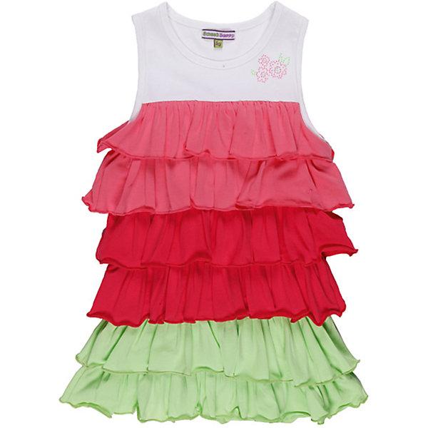 Платье для девочки Sweet BerryЛетние платья и сарафаны<br>Яркое трикотажное  платье с воланами. Декорировано узором из страз.<br>Состав:<br>95% хлопок, 5% эластан<br><br>Ширина мм: 236<br>Глубина мм: 16<br>Высота мм: 184<br>Вес г: 177<br>Цвет: розовый/белый<br>Возраст от месяцев: 24<br>Возраст до месяцев: 36<br>Пол: Женский<br>Возраст: Детский<br>Размер: 98,110,122,116,128,104<br>SKU: 4521325
