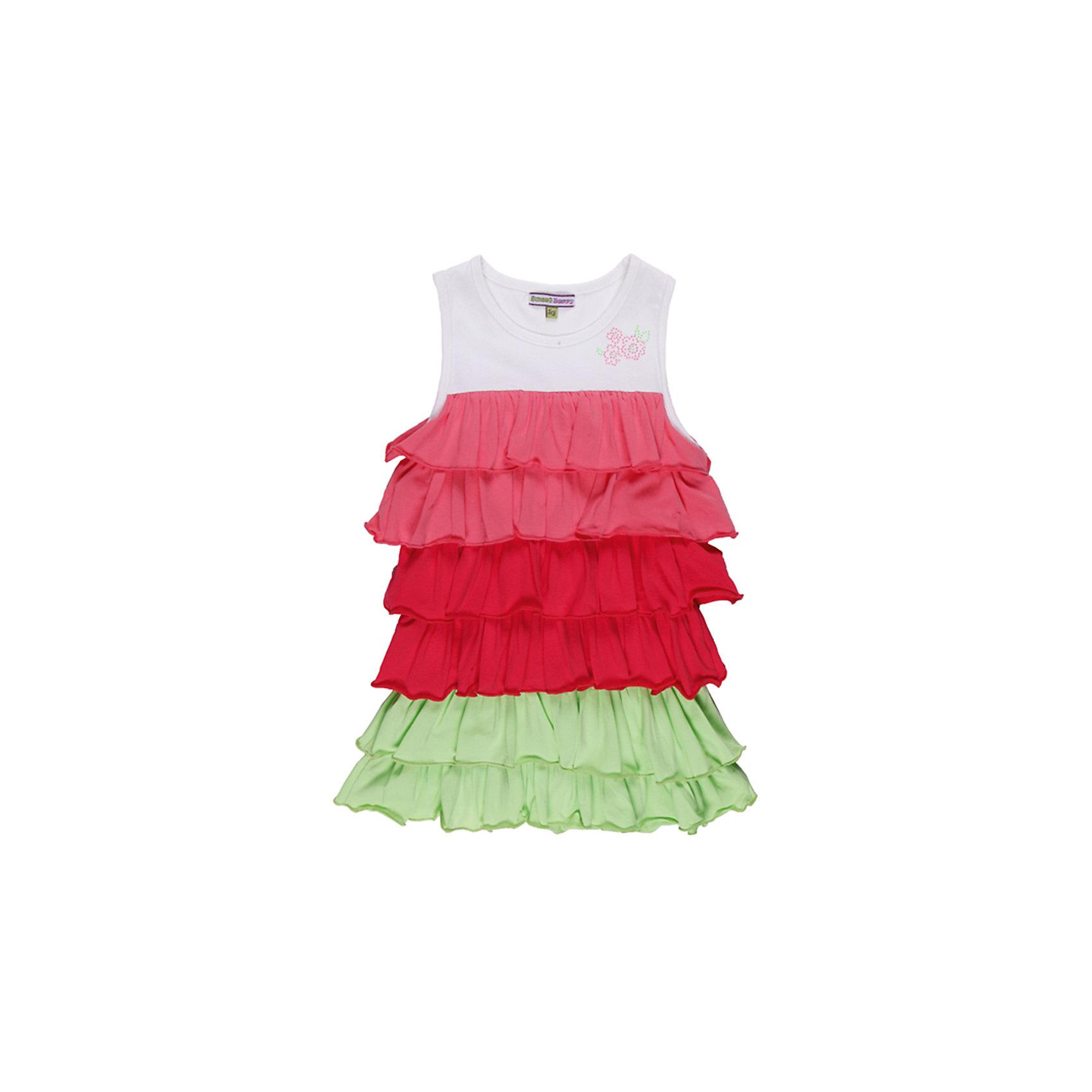 Платье для девочки Sweet BerryПлатья и сарафаны<br>Яркое трикотажное  платье с воланами. Декорировано узором из страз.<br>Состав:<br>95% хлопок, 5% эластан<br><br>Ширина мм: 236<br>Глубина мм: 16<br>Высота мм: 184<br>Вес г: 177<br>Цвет: розовый/белый<br>Возраст от месяцев: 24<br>Возраст до месяцев: 36<br>Пол: Женский<br>Возраст: Детский<br>Размер: 98,122,110,104,128,116<br>SKU: 4521325