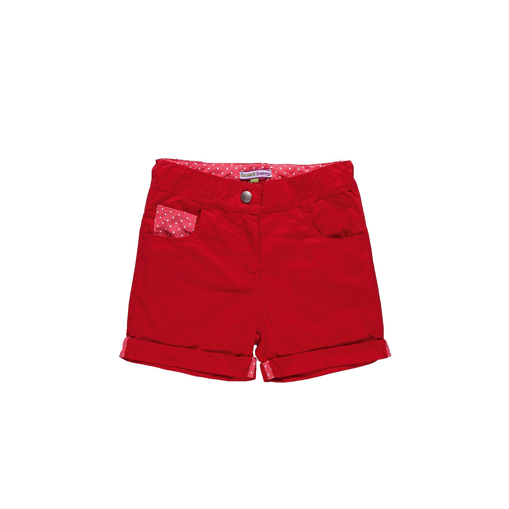 Шорты для девочки Sweet BerryШорты, бриджи, капри<br>Шорты текстильные на девочку.  Четыре функциональных кармана, пояс регулируется внутренней резинкой.<br>Состав:<br>100% хлопок<br><br>Ширина мм: 191<br>Глубина мм: 10<br>Высота мм: 175<br>Вес г: 273<br>Цвет: красный<br>Возраст от месяцев: 72<br>Возраст до месяцев: 84<br>Пол: Женский<br>Возраст: Детский<br>Размер: 122,116,104,110,128,98<br>SKU: 4521346