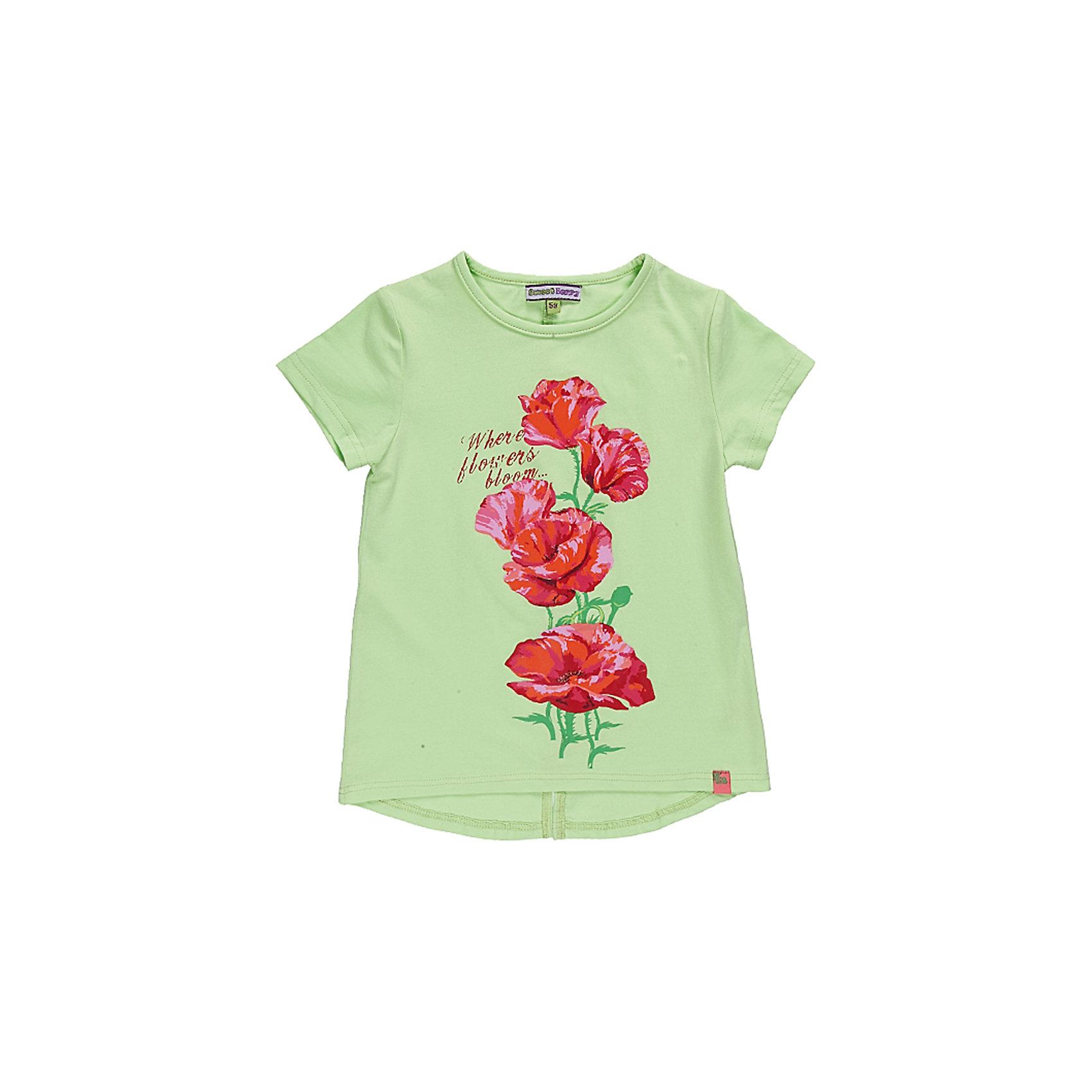 Футболка для девочки Sweet BerryУдлиненная футболка из эластичного трикотажа.Декорирована ярким принтом с глитером.<br>Состав:<br>95% хлопок, 5% эластан<br><br>Ширина мм: 199<br>Глубина мм: 10<br>Высота мм: 161<br>Вес г: 151<br>Цвет: зеленый<br>Возраст от месяцев: 24<br>Возраст до месяцев: 36<br>Пол: Женский<br>Возраст: Детский<br>Размер: 98,128,104,122,116,110<br>SKU: 4521381