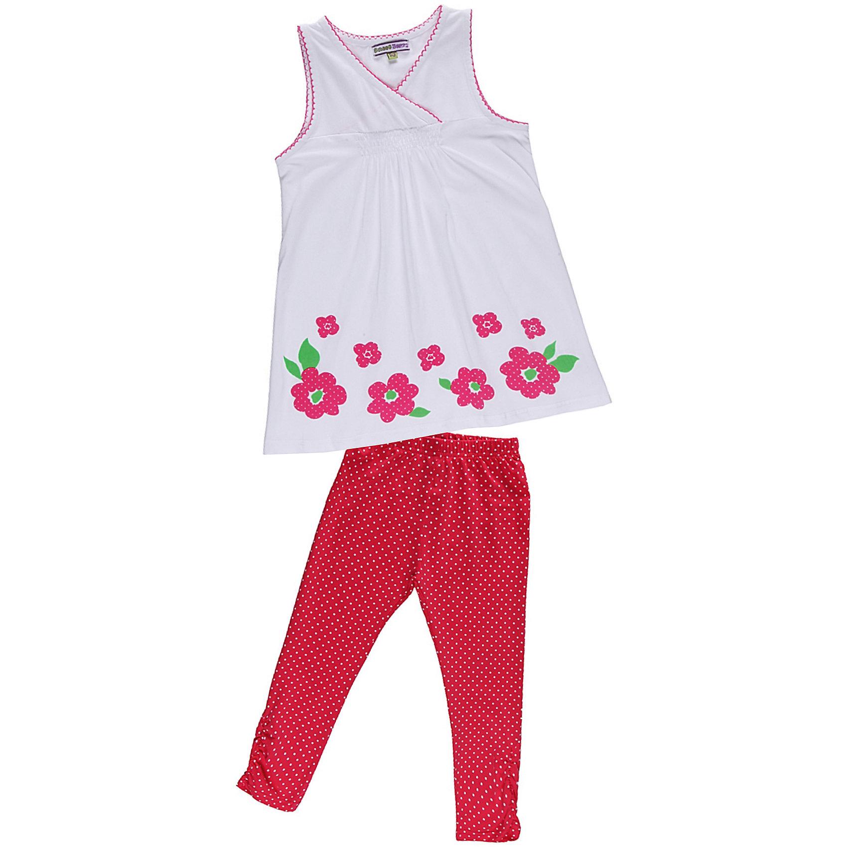 Комплект для девочки: футболка и леггинсы Sweet BerryКомплект из эластичного трикотажа. Декорирован принтом, сборкой и фигурной отделкой.<br>Состав:<br>95% хлопок, 5% эластан<br><br>Ширина мм: 199<br>Глубина мм: 10<br>Высота мм: 161<br>Вес г: 151<br>Цвет: бело-розовый<br>Возраст от месяцев: 48<br>Возраст до месяцев: 60<br>Пол: Женский<br>Возраст: Детский<br>Размер: 110,128,116,122,98,104<br>SKU: 4521413