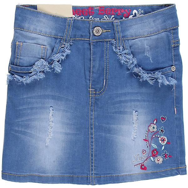 Юбка джинсовая для девочки Sweet BerryЮбки<br>Стильная джинсовая юбка для девочки, декорирована потертостями и вышивкой.<br>Состав:<br>98% хлопок 2%эластан<br>Ширина мм: 207; Глубина мм: 10; Высота мм: 189; Вес г: 183; Цвет: синий; Возраст от месяцев: 72; Возраст до месяцев: 84; Пол: Женский; Возраст: Детский; Размер: 122,104,110,116,98,128; SKU: 4521509;