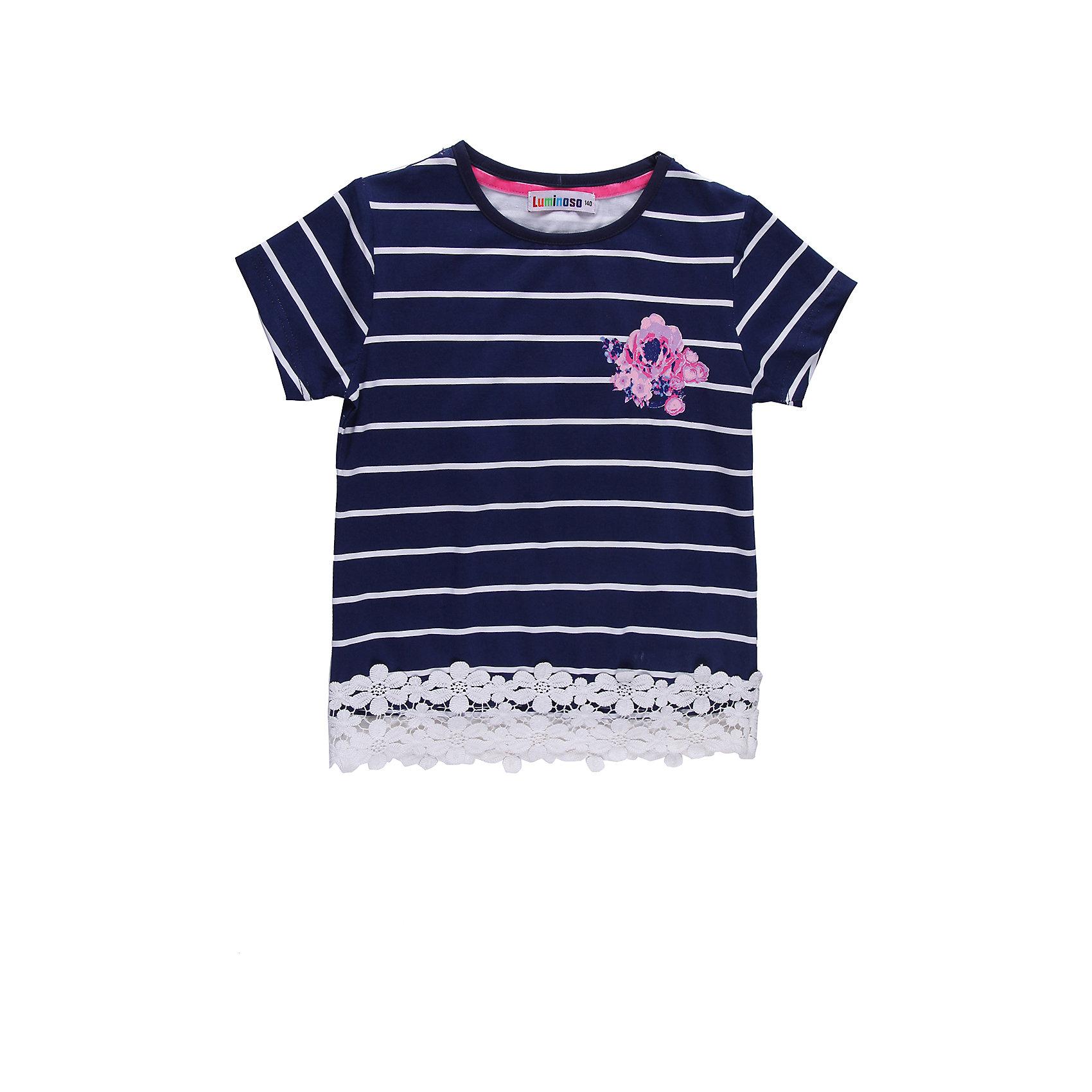 Футболка для девочки LuminosoПолосатая футболка для девочки. По низу кружево, на полочке принт с глитером.<br>Состав:<br>95% хлопок, 5% эластан<br><br>Ширина мм: 199<br>Глубина мм: 10<br>Высота мм: 161<br>Вес г: 151<br>Цвет: синий/белый<br>Возраст от месяцев: 144<br>Возраст до месяцев: 156<br>Пол: Женский<br>Возраст: Детский<br>Размер: 158,134,164,140,146,152<br>SKU: 4521625
