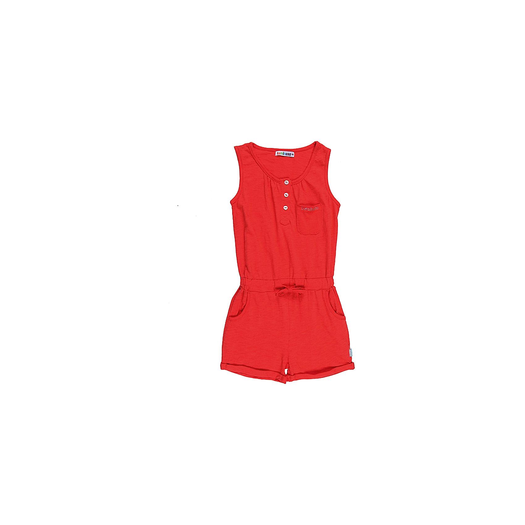 Полукомбинезон для девочки LuminosoКомбинезоны<br>Яркий кораллово-красный текстильный комбинезон для девочек. Короткие шорты и верх-маечка. Застегивается на пуговицы впереди на планке. По поясу вшита широкая резинка со шнуровкой. На шортах косые внутренние карманы. На груди пришит накладной карман с логотипом. Низ шорт с небольшим подворотом.<br>Состав:<br>95% хлопок, 5% эластан<br><br>Ширина мм: 215<br>Глубина мм: 88<br>Высота мм: 191<br>Вес г: 336<br>Цвет: красный<br>Возраст от месяцев: 120<br>Возраст до месяцев: 132<br>Пол: Женский<br>Возраст: Детский<br>Размер: 146,164,134,158,152,140<br>SKU: 4521758