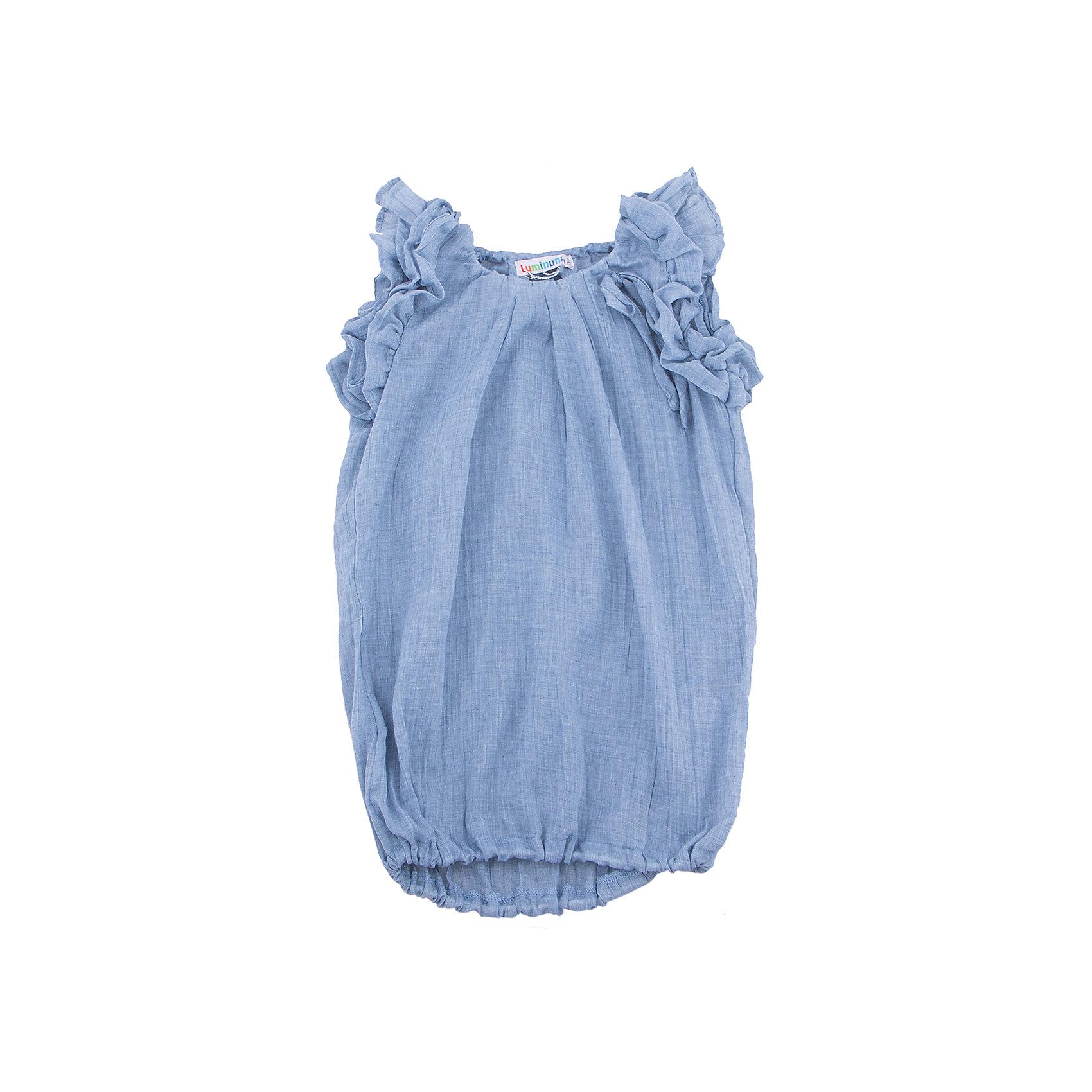 Блузка для девочки LuminosoБлузки и рубашки<br>Блузка для девочки из меланжевого хлопка, удлиненного силуэта, рукава украшены рюшами, низ на резинке.<br>Состав:<br>100% хлопок<br><br>Ширина мм: 186<br>Глубина мм: 87<br>Высота мм: 198<br>Вес г: 197<br>Цвет: голубой<br>Возраст от месяцев: 120<br>Возраст до месяцев: 132<br>Пол: Женский<br>Возраст: Детский<br>Размер: 146,164,158,152,134,140<br>SKU: 4521765
