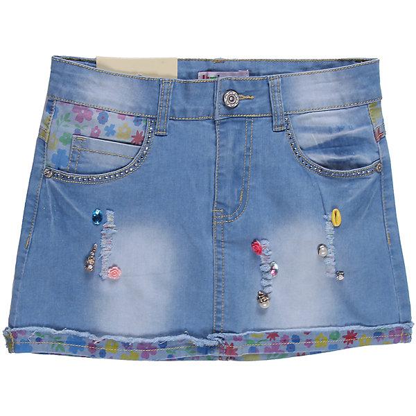 Юбка джинсовая для девочки LuminosoЮбки<br>Оригинальная джинсовая юбка, со вставками из принтованной джинсы, потертостями и рваным краем, украшена разнообразной фурнитурой.<br>Состав:<br>98% хлопок 2%эластан<br>Ширина мм: 207; Глубина мм: 10; Высота мм: 189; Вес г: 183; Цвет: синий; Возраст от месяцев: 120; Возраст до месяцев: 132; Пол: Женский; Возраст: Детский; Размер: 146,152,140,158,164,134; SKU: 4521779;