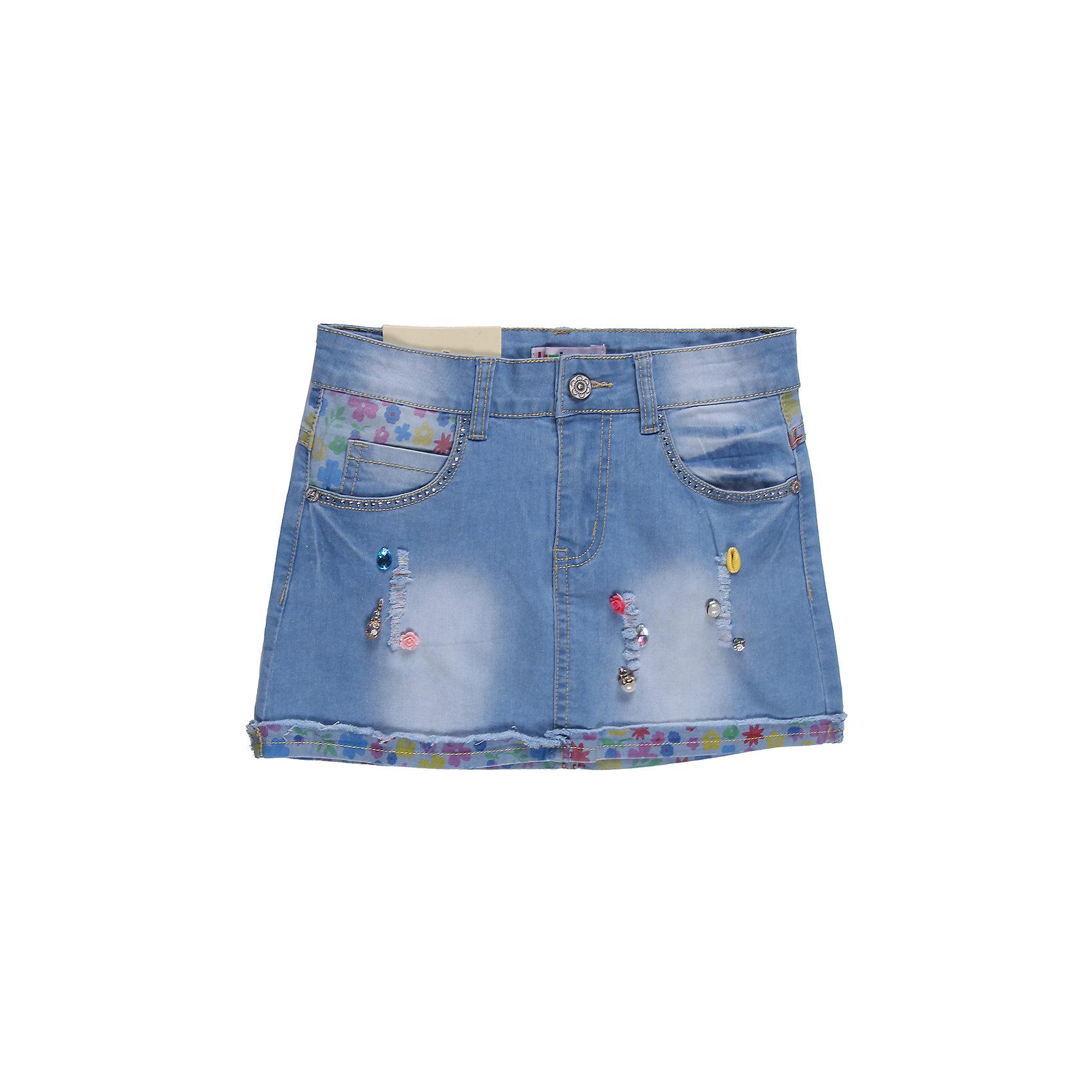 Юбка джинсовая для девочки LuminosoДжинсовая одежда<br>Оригинальная джинсовая юбка, со вставками из принтованной джинсы, потертостями и рваным краем, украшена разнообразной фурнитурой.<br>Состав:<br>98% хлопок 2%эластан<br><br>Ширина мм: 207<br>Глубина мм: 10<br>Высота мм: 189<br>Вес г: 183<br>Цвет: синий<br>Возраст от месяцев: 144<br>Возраст до месяцев: 156<br>Пол: Женский<br>Возраст: Детский<br>Размер: 158,164,134,152,140,146<br>SKU: 4521779