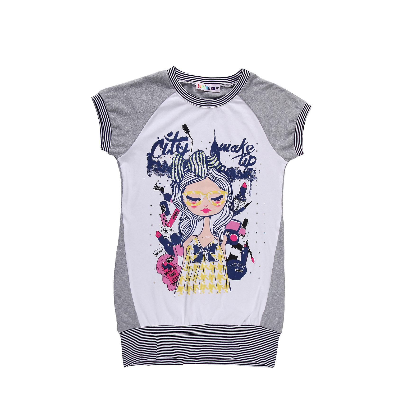 Футболка для девочки LuminosoФутболки, поло и топы<br>Удлиненная футболка для девочки с принтом и стразами.<br>Состав:<br>95% хлопок, 5% эластан<br><br>Ширина мм: 199<br>Глубина мм: 10<br>Высота мм: 161<br>Вес г: 151<br>Цвет: серый<br>Возраст от месяцев: 120<br>Возраст до месяцев: 132<br>Пол: Женский<br>Возраст: Детский<br>Размер: 146,158,134,152,164,140<br>SKU: 4521856