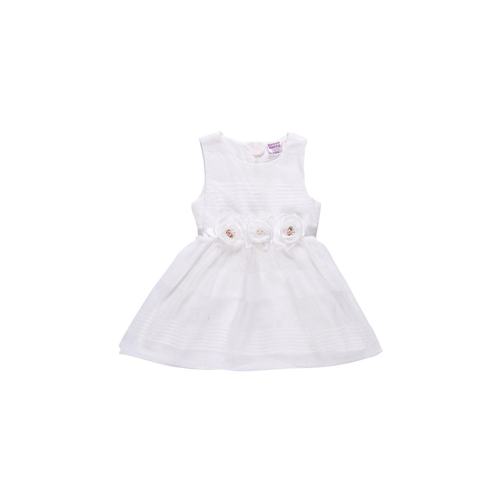 Платье для девочки Sweet BerryНарядное платье на девочку, выполнено из шифона, подкладка хлопок. Пояс из атласной ленты, сзади завязывается на бант. Украшено съемными шифоновыми цветами.<br>Состав:<br>Верх: 100% полиэстер, Подкладка:  100% хлопок<br><br>Ширина мм: 236<br>Глубина мм: 16<br>Высота мм: 184<br>Вес г: 177<br>Цвет: белый<br>Возраст от месяцев: 12<br>Возраст до месяцев: 18<br>Пол: Женский<br>Возраст: Детский<br>Размер: 86,80,92<br>SKU: 4522001