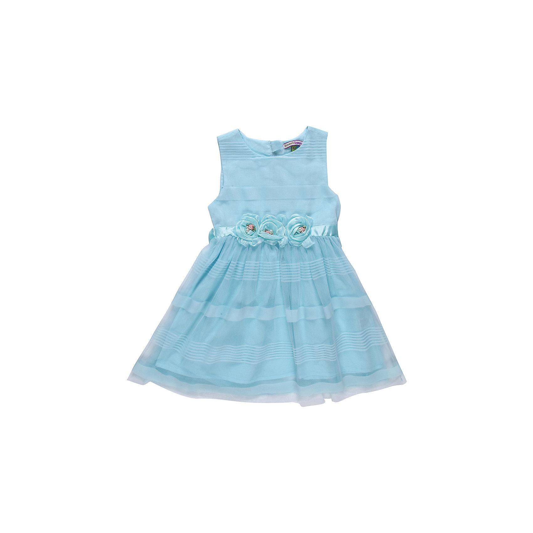Платье для девочки Sweet BerryНарядное платье на девочку, выполнено из шифона, подкладка хлопок. Пояс из атласной ленты, сзади завязывается на бант. Украшено съемными шифоновыми цветами.<br>Состав:<br>Верх: 100% полиэстер, Подкладка:  100% хлопок<br><br>Ширина мм: 236<br>Глубина мм: 16<br>Высота мм: 184<br>Вес г: 177<br>Цвет: голубой<br>Возраст от месяцев: 24<br>Возраст до месяцев: 36<br>Пол: Женский<br>Возраст: Детский<br>Размер: 104,122,110,116,128,98<br>SKU: 4522005
