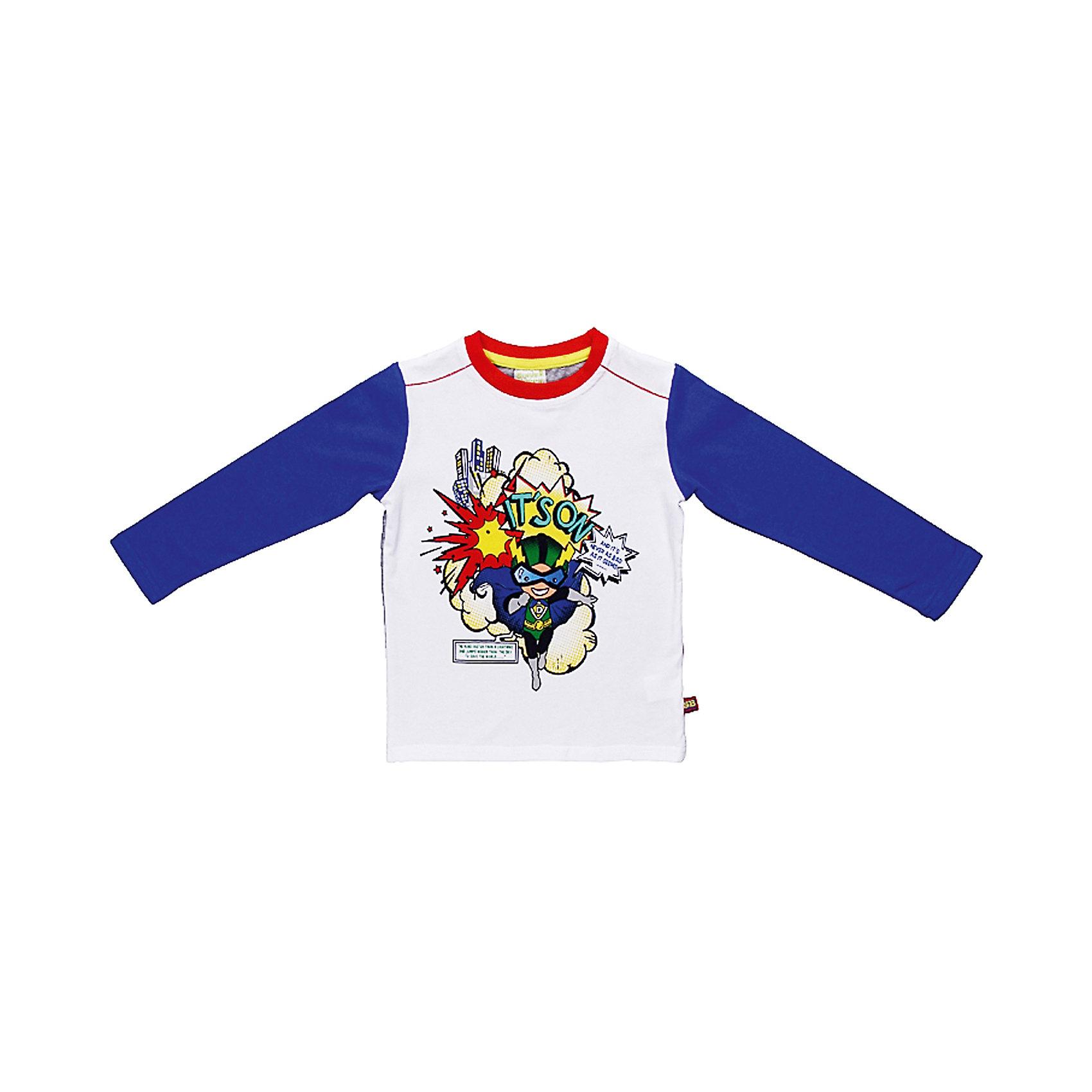 Футболка с длинным рукавом для мальчика Sweet BerryЯркая футболка с длинным рукавом для мальчика. Горловина из эластичной трикотажной резинки контрастного цвета. Футболка украшена модным принтом.<br>Состав:<br>95% хлопок 5% эластан<br><br>Ширина мм: 230<br>Глубина мм: 40<br>Высота мм: 220<br>Вес г: 250<br>Цвет: синий/белый<br>Возраст от месяцев: 9<br>Возраст до месяцев: 12<br>Пол: Мужской<br>Возраст: Детский<br>Размер: 80,98,86,92<br>SKU: 4522034