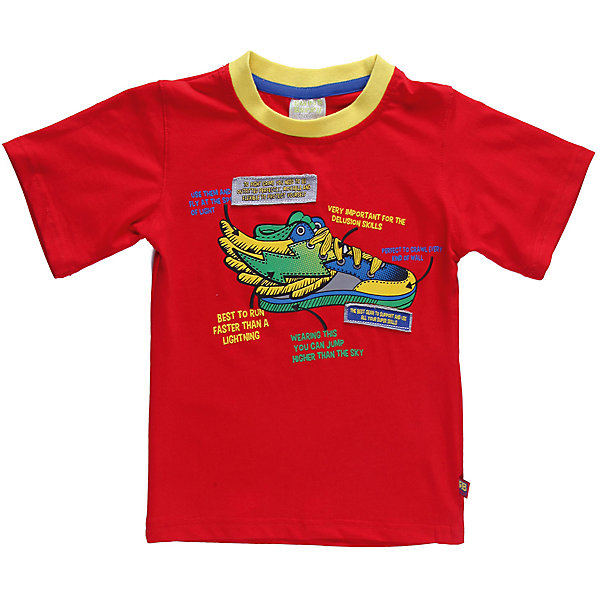 Футболка для мальчика Sweet BerryФутболки, топы<br>Яркая футболка для мальчика. Горловина из эластичной трикотажной резинки контрастного цвета. Футболка украшена ярким, модным принтом.<br>Состав:<br>95% хлопок 5% эластан<br>Ширина мм: 199; Глубина мм: 10; Высота мм: 161; Вес г: 151; Цвет: красный; Возраст от месяцев: 12; Возраст до месяцев: 18; Пол: Мужской; Возраст: Детский; Размер: 86,92,80,98; SKU: 4522054;