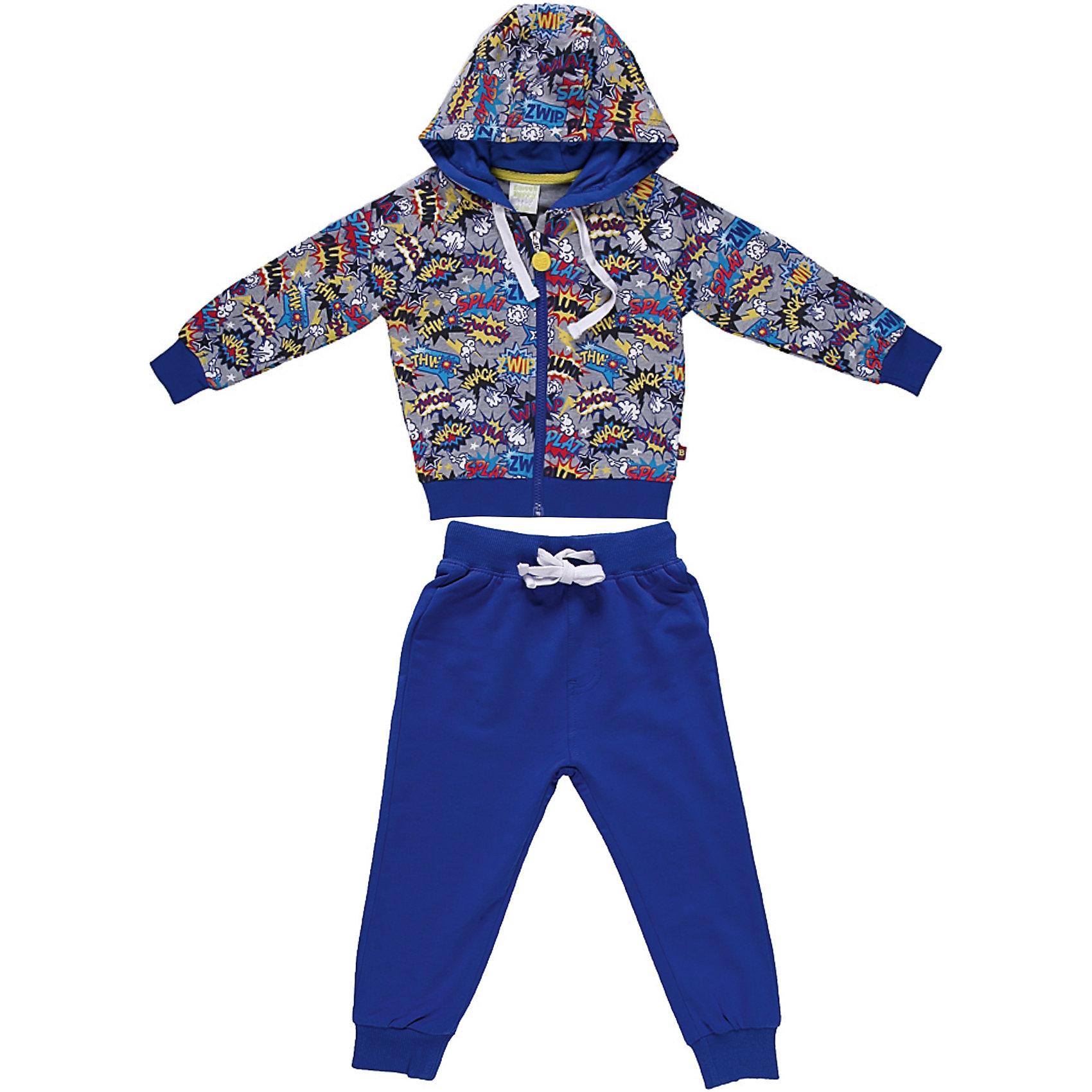 Спортивный костюм для мальчика Sweet BerryКомплекты<br>Яркий спортивный костюм для мальчика. Толстовка с капюшоном на яркой трикотажной подкладке.  Брюки на поясе с трикотажной резинкой, регулируется хлопковым шнурком.<br>Состав:<br>95% хлопок 5% эластан<br><br>Ширина мм: 247<br>Глубина мм: 16<br>Высота мм: 140<br>Вес г: 225<br>Цвет: разноцветный<br>Возраст от месяцев: 9<br>Возраст до месяцев: 12<br>Пол: Мужской<br>Возраст: Детский<br>Размер: 80,92,98,86<br>SKU: 4522059