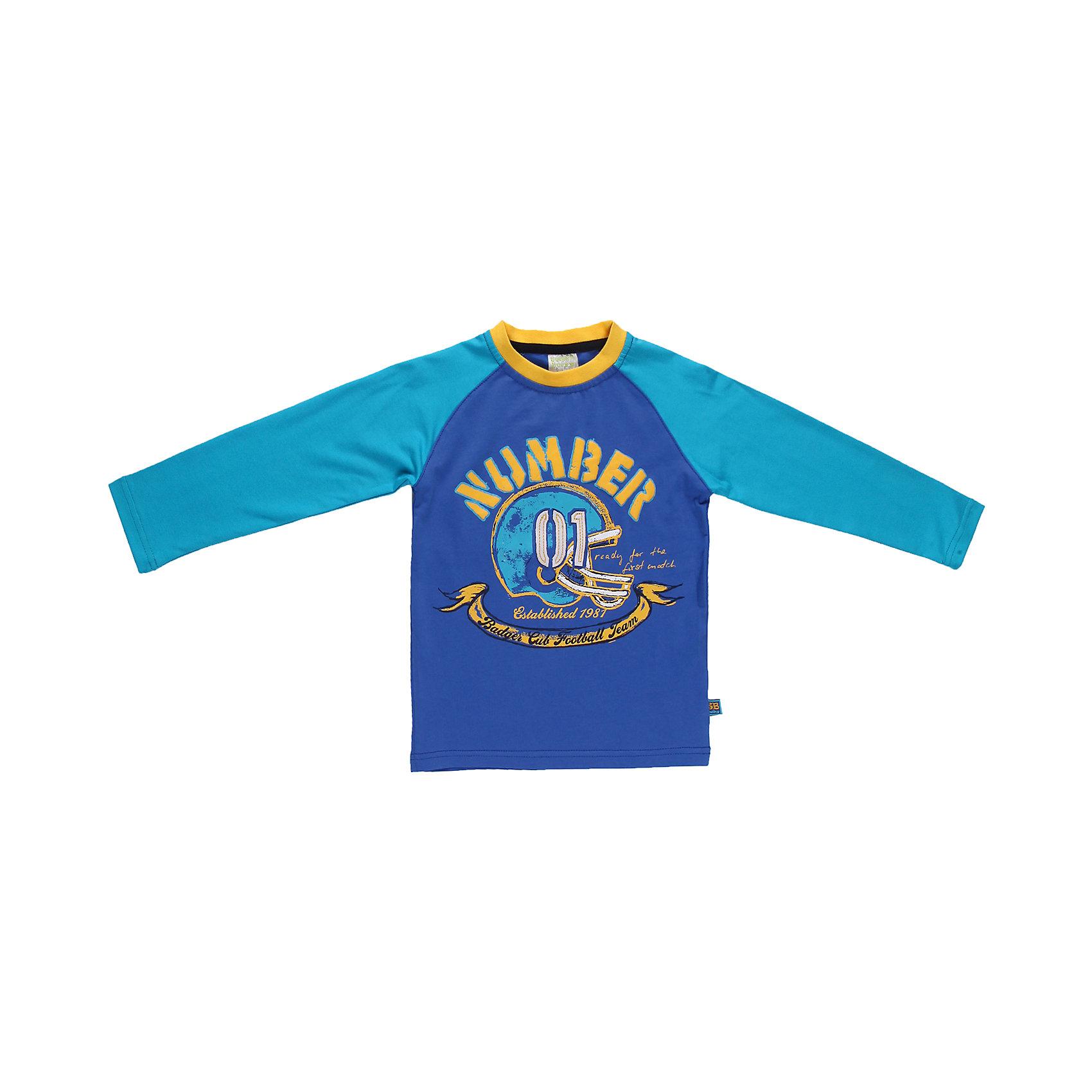Футболка с длинным рукавом для мальчика Sweet BerryЯркая футболка с длинным рукавом для мальчика. Горловина из эластичной трикотажной резинки контрастного цвета. Футболка украшена модным принтом.<br>Состав:<br>95% хлопок 5% эластан<br><br>Ширина мм: 230<br>Глубина мм: 40<br>Высота мм: 220<br>Вес г: 250<br>Цвет: голубой/синий<br>Возраст от месяцев: 9<br>Возраст до месяцев: 12<br>Пол: Мужской<br>Возраст: Детский<br>Размер: 80,98,86,92<br>SKU: 4522099