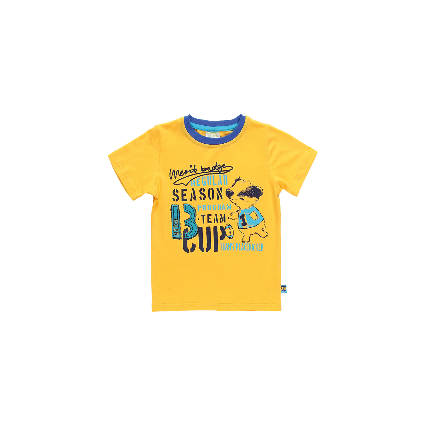 Футболка для мальчика Sweet BerryЛетняя футболка для мальчика. Горловина из эластичной трикотажной резинки контрастного цвета. Футболка украшена ярким принтом и аппликацией.<br>Состав:<br>95% хлопок 5% эластан<br><br>Ширина мм: 199<br>Глубина мм: 10<br>Высота мм: 161<br>Вес г: 151<br>Цвет: желтый<br>Возраст от месяцев: 9<br>Возраст до месяцев: 12<br>Пол: Мужской<br>Возраст: Детский<br>Размер: 80,86,98,92<br>SKU: 4522104