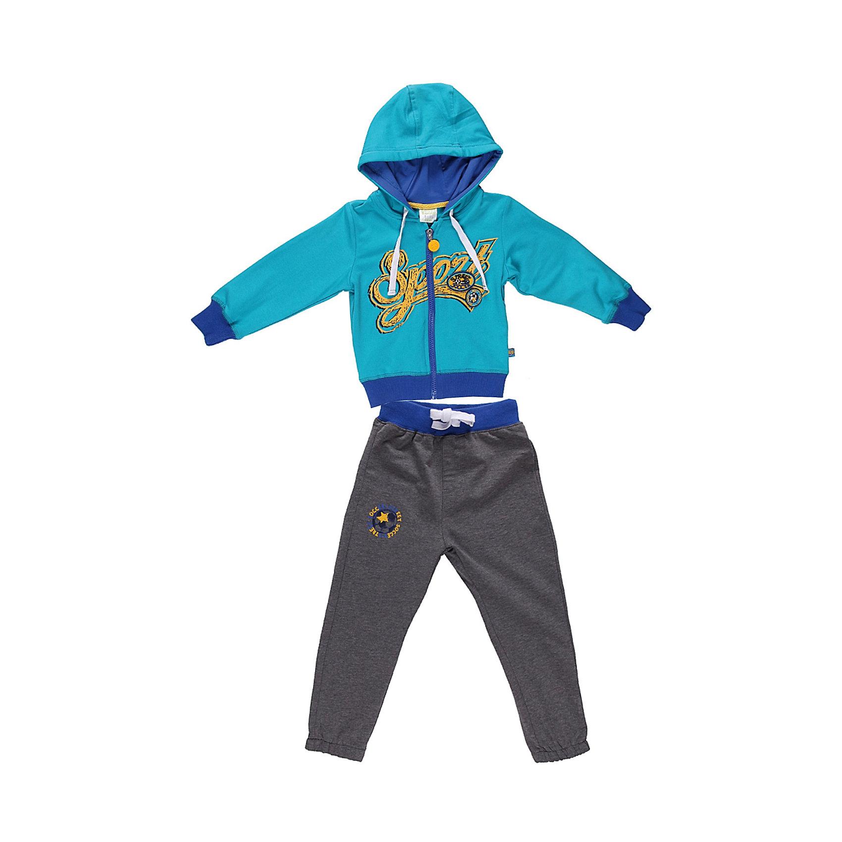 Спортивный костюм для мальчика Sweet BerryКомплекты<br>Яркий спортивный костюм для мальчика. Толстовка с капюшоном на яркой трикотажной подкладке. Украшена принтом и шевроном.   Брюки на поясе с трикотажной резинкой, регулируется хлопковым шнурком.<br>Состав:<br>95% хлопок 5% эластан<br><br>Ширина мм: 247<br>Глубина мм: 16<br>Высота мм: 140<br>Вес г: 225<br>Цвет: синий<br>Возраст от месяцев: 9<br>Возраст до месяцев: 12<br>Пол: Мужской<br>Возраст: Детский<br>Размер: 80,98,92,86<br>SKU: 4522124