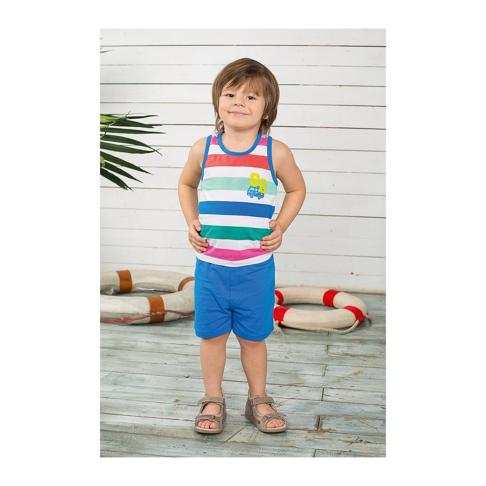 Комплект для мальчика: майка и шорты Sweet BerryКомплекты<br>Комплект майка и шорты для мальчика. Шорты из тонкого трикотажа, на эластичном поясе с внутренней резинкой и дополнительным хлопковым шнурком. Майка украшена принтом.<br>Состав:<br>95% хлопок 5% эластан<br><br>Ширина мм: 199<br>Глубина мм: 10<br>Высота мм: 161<br>Вес г: 151<br>Цвет: синий<br>Возраст от месяцев: 9<br>Возраст до месяцев: 12<br>Пол: Мужской<br>Возраст: Детский<br>Размер: 80,92,86,98<br>SKU: 4522482