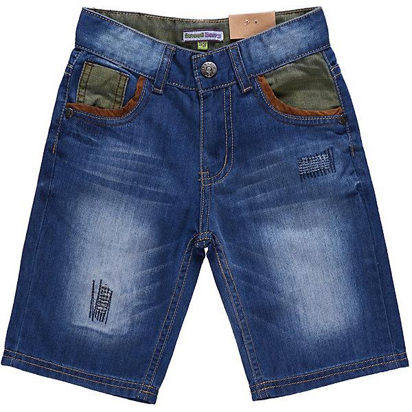 Бриджи джинсовые для мальчика Sweet BerryШорты, бриджи, капри<br>Джинсовые шорты с контрастными вставками из цветной джинсы. С регулировкой внутри на поясе.<br>Состав:<br>100% хлопок<br><br>Ширина мм: 191<br>Глубина мм: 10<br>Высота мм: 175<br>Вес г: 273<br>Цвет: синий<br>Возраст от месяцев: 24<br>Возраст до месяцев: 36<br>Пол: Мужской<br>Возраст: Детский<br>Размер: 98,104,116,110,122,128<br>SKU: 4522677